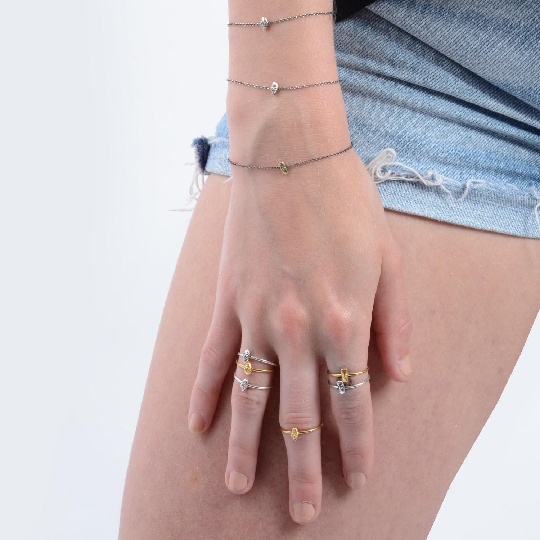 Lee Renee Tiny Voodoo Erzulie Ring �?Diamond & Silver in Silver / Grey / Black (Metallic)