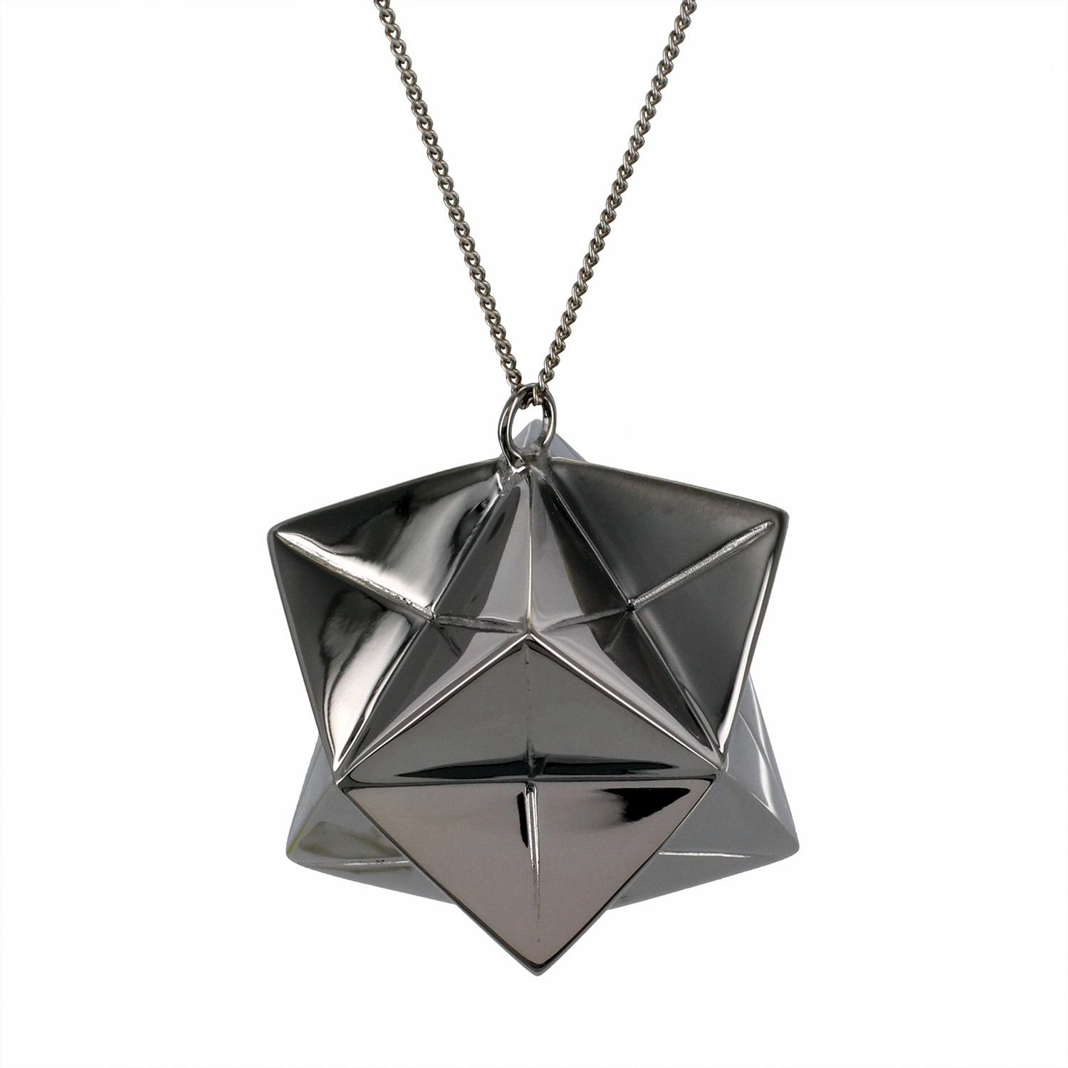 origami jewellery large magic ball necklace gun metal in