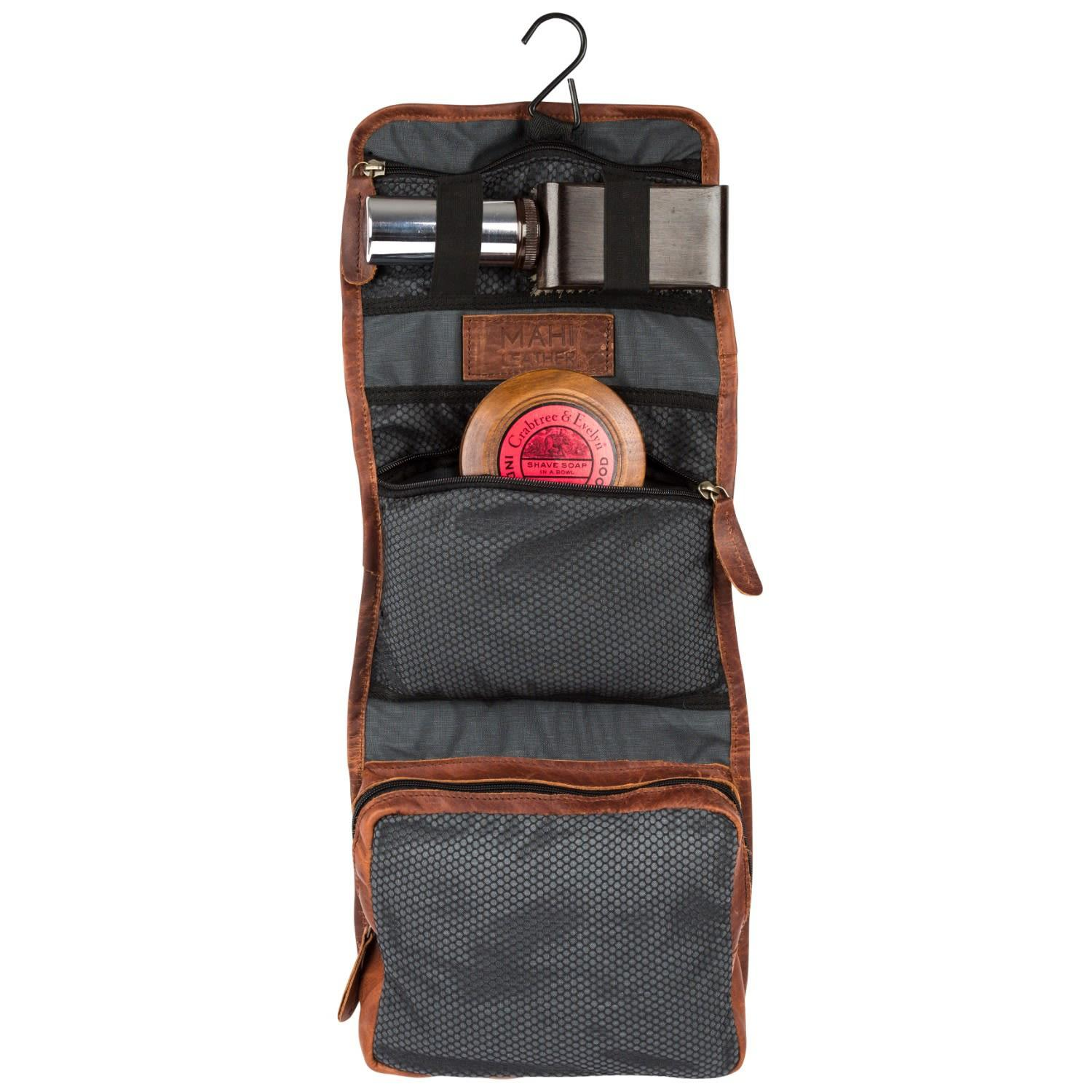 def3ee829e Men's Leather Hanging Wash Toiletry Bag Dopp Kit In Vintage Brown With Hook