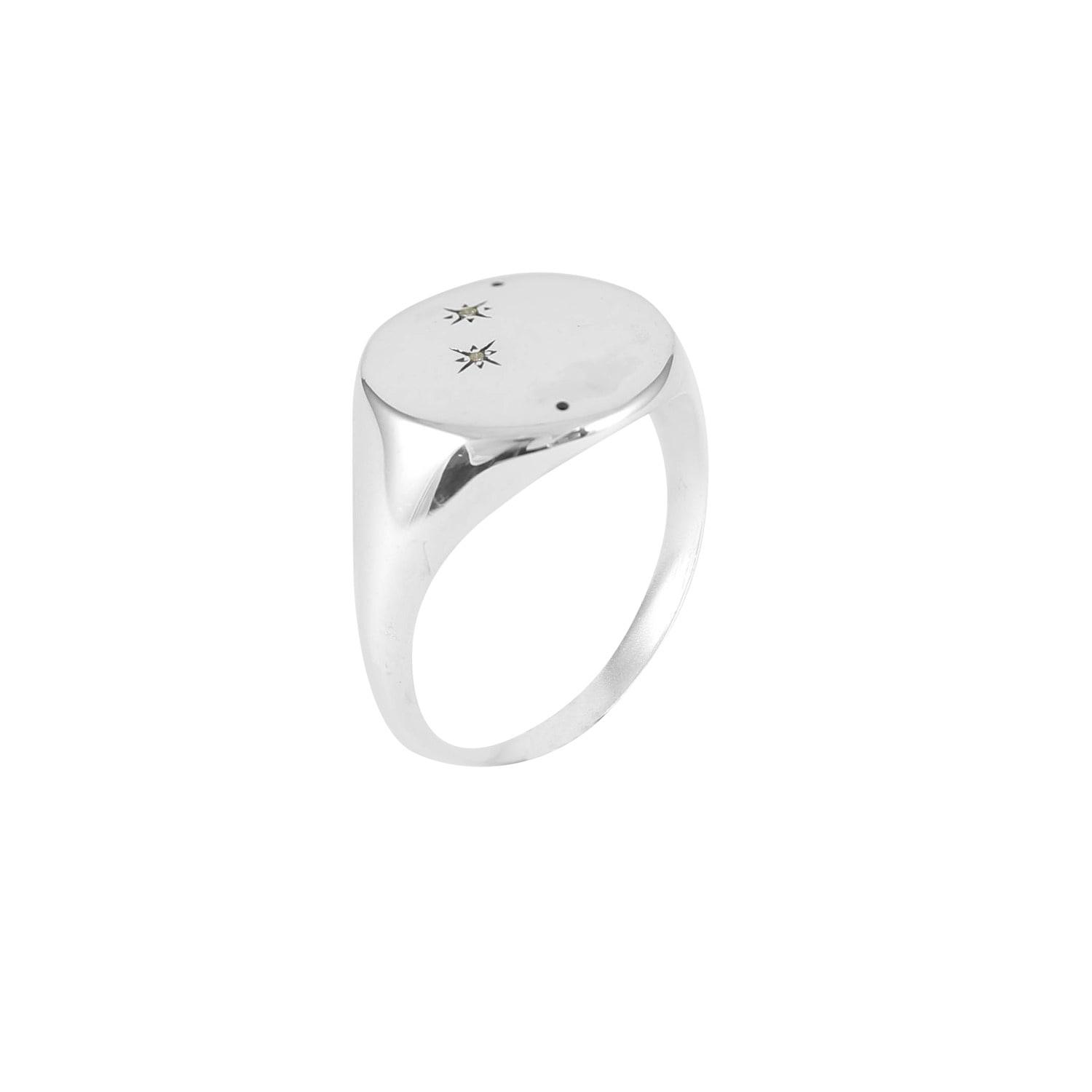 No 13 Aries Constellation Signet Ring Diamonds & Oxydised Silver in Silver / Black (Metallic)