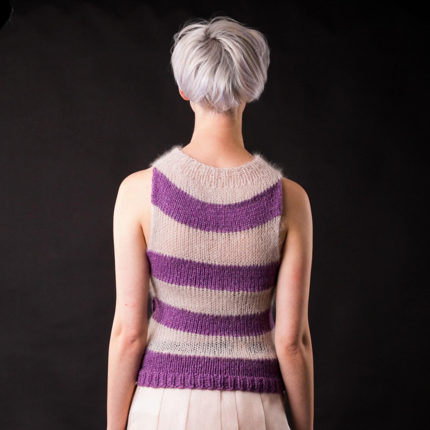 Claire Andrew Silk Striped Knit Top With Open Neck in Purple