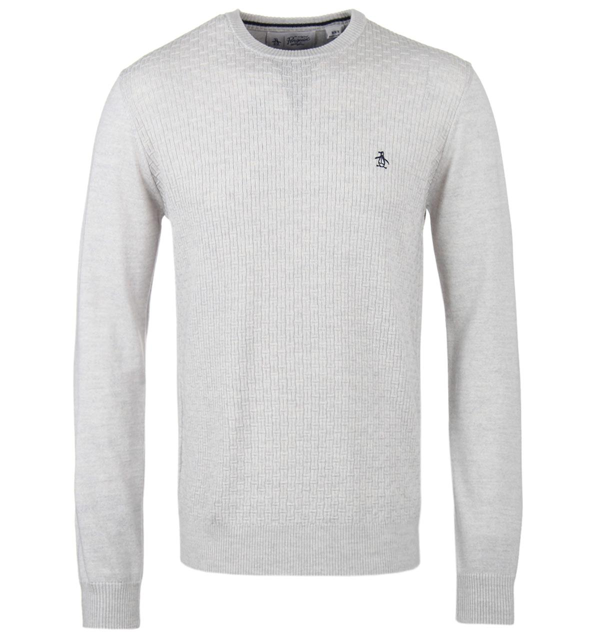 Original Penguin Rock Ridge Heather Basketweave Merino Wool Sweater in Grey for Men