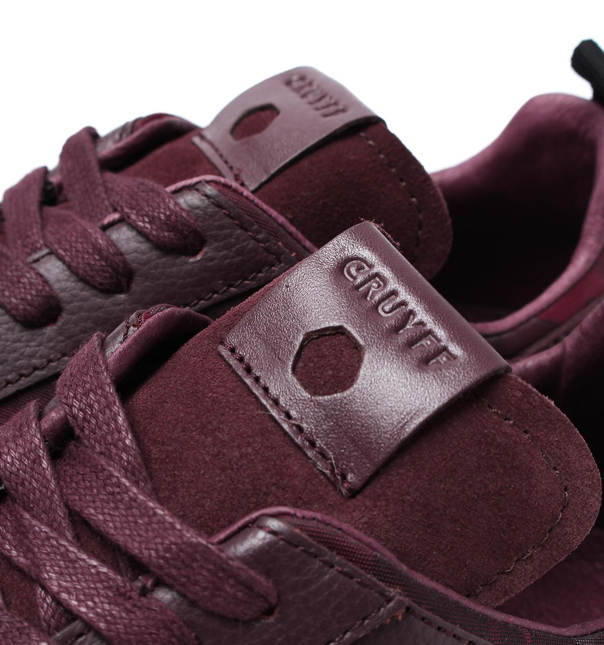 Cruyff Classics Burgundy Fade Camo Leather Lusso Trainers In Torch Tshirt Women Maroon L Gallery