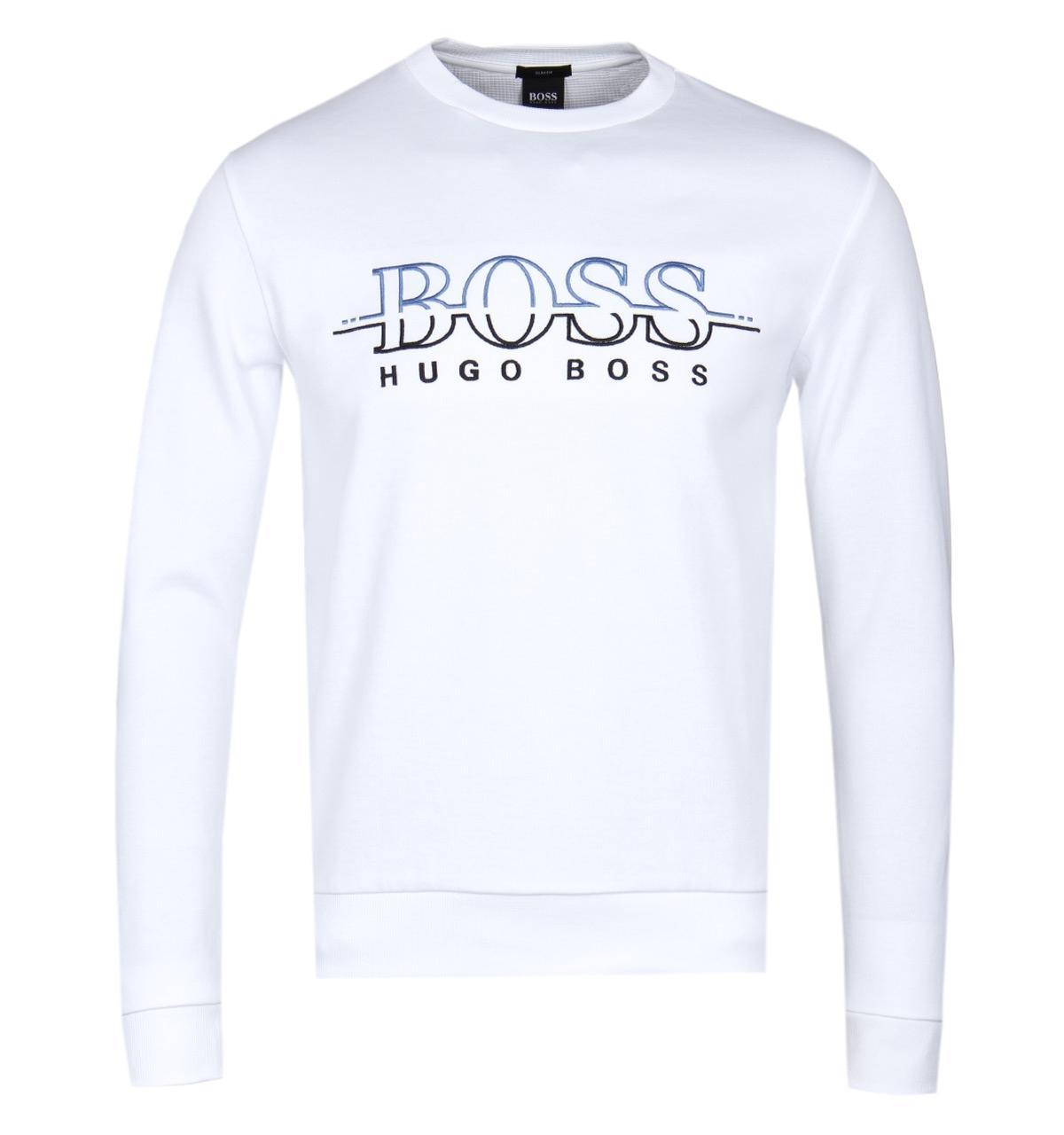 40d606bd55 BOSS Green Boss Salbo White Sweatshirt in White for Men - Lyst