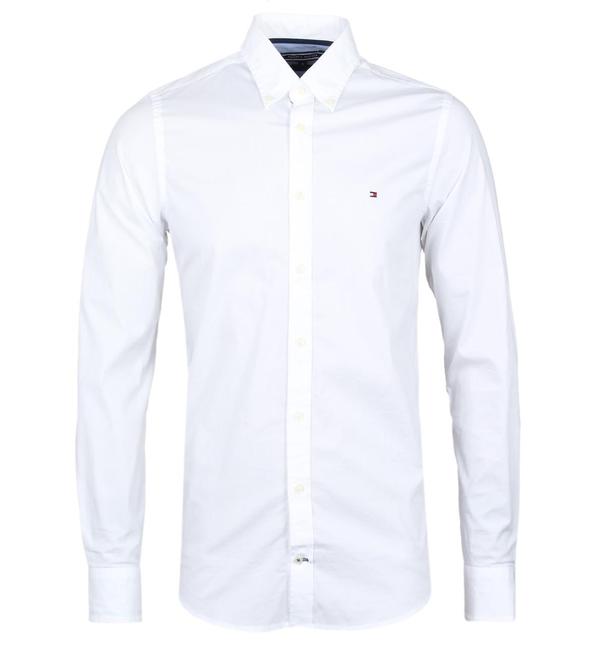 Tommy hilfiger white slim fit poplin button down shirt in for Mens white button down dress shirts