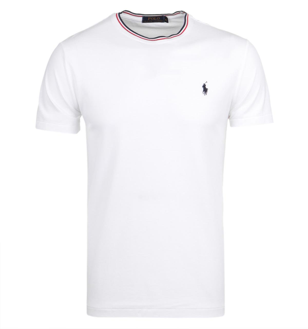 lyst polo ralph lauren white tipped short sleeve pique t shirt in white for men. Black Bedroom Furniture Sets. Home Design Ideas