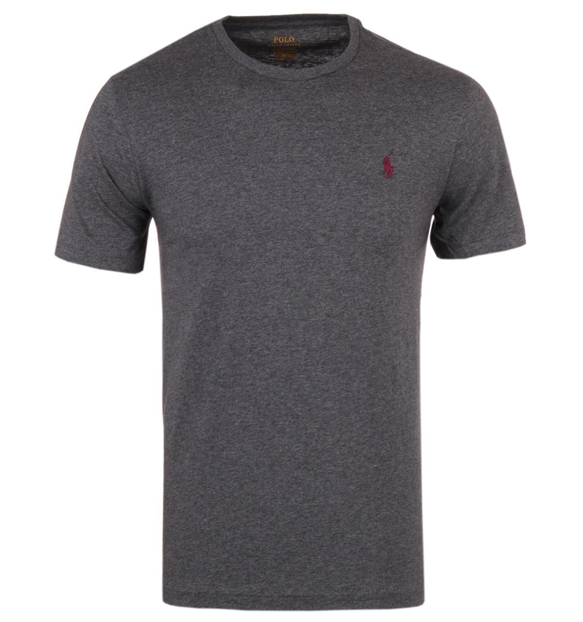 Lyst polo ralph lauren stadium grey heather custom fit t for Polo custom fit t shirts