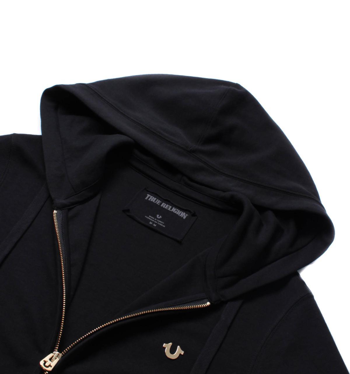 True Religion Denim Black Gold Zipper Overhead Hoodie for Men