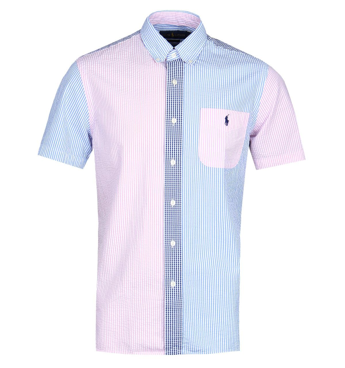 Polo Ralph Lauren Cotton Blue Pink Seersucker Short Sleeve Shirt