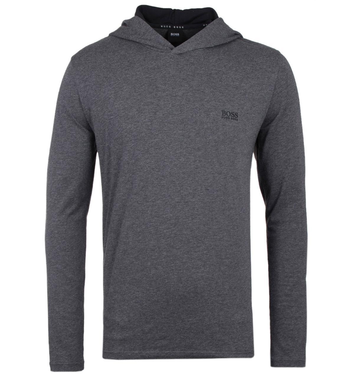 2e9ec112 BOSS by Hugo Boss Charcoal Hooded Long Sleeve T-shirt in Gray for ...