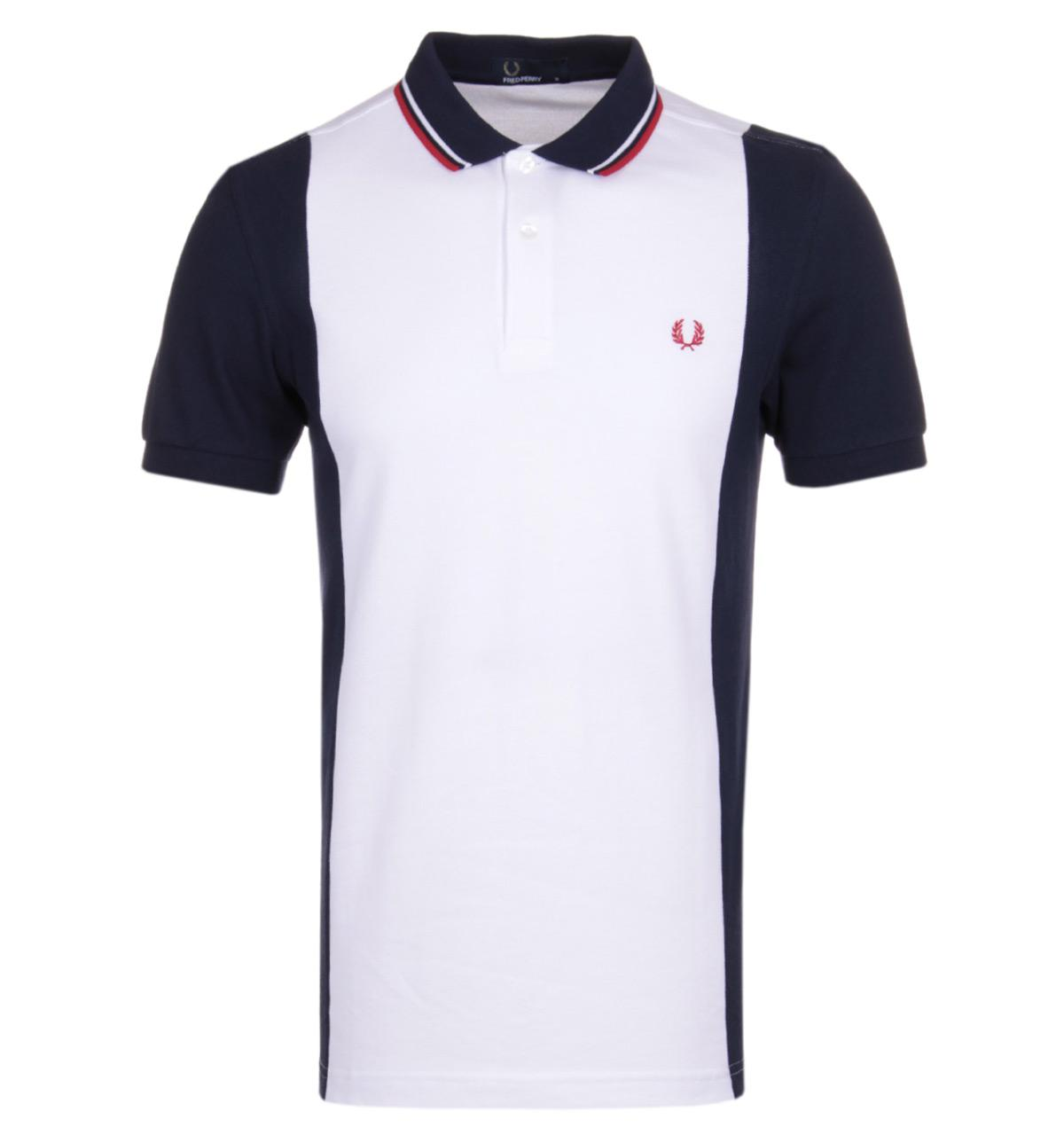 145d6256b Lyst - Fred Perry Panelled White   Carbon Blue Pique Polo Shirt in ...