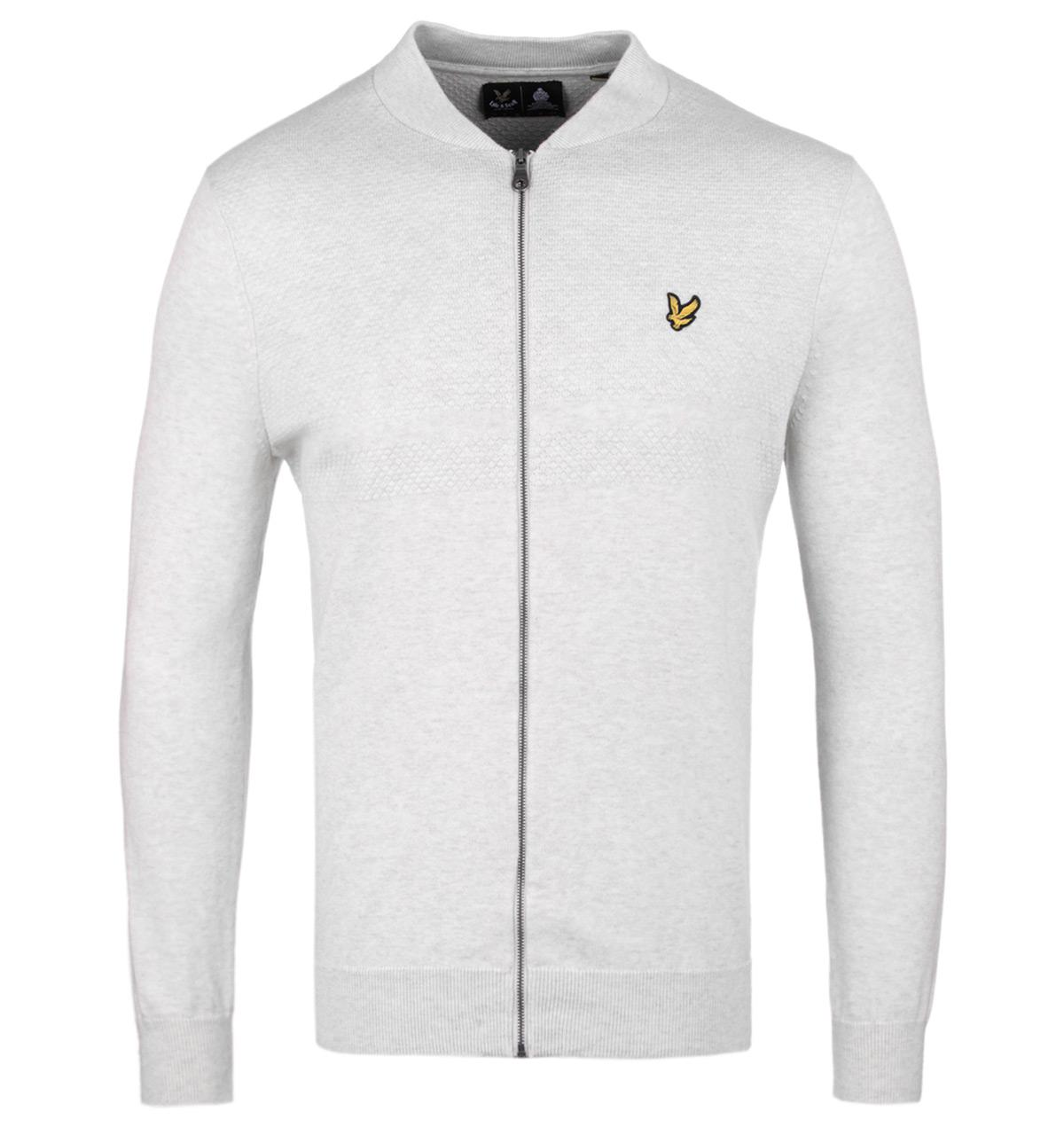 Lyle & Scott. Men's Textured Yoke Off White Marl Bomber Sweatshirt