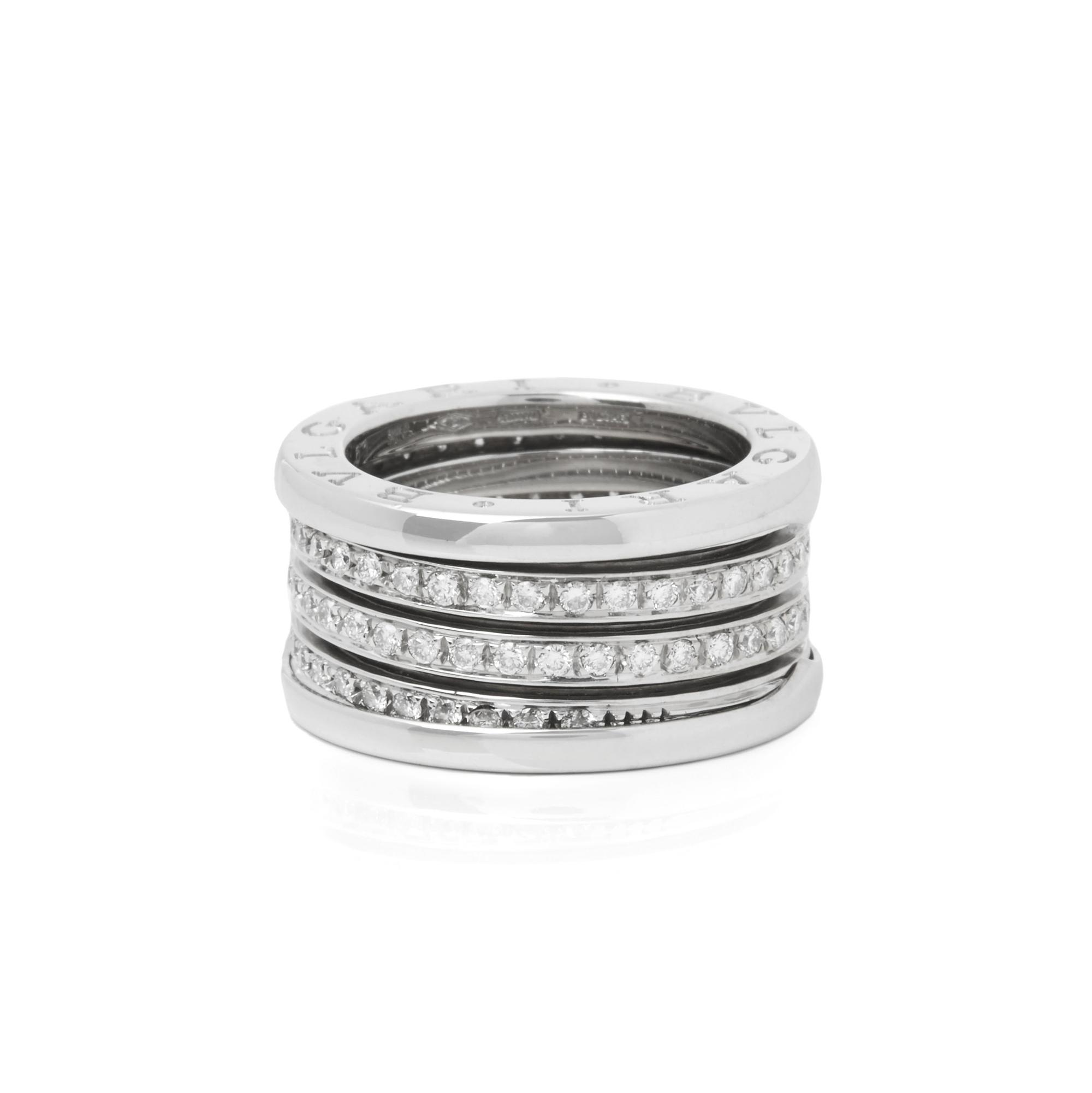 Bvlgari 18k White Gold 4 Band Diamond B Zero 1 Ring Lyst