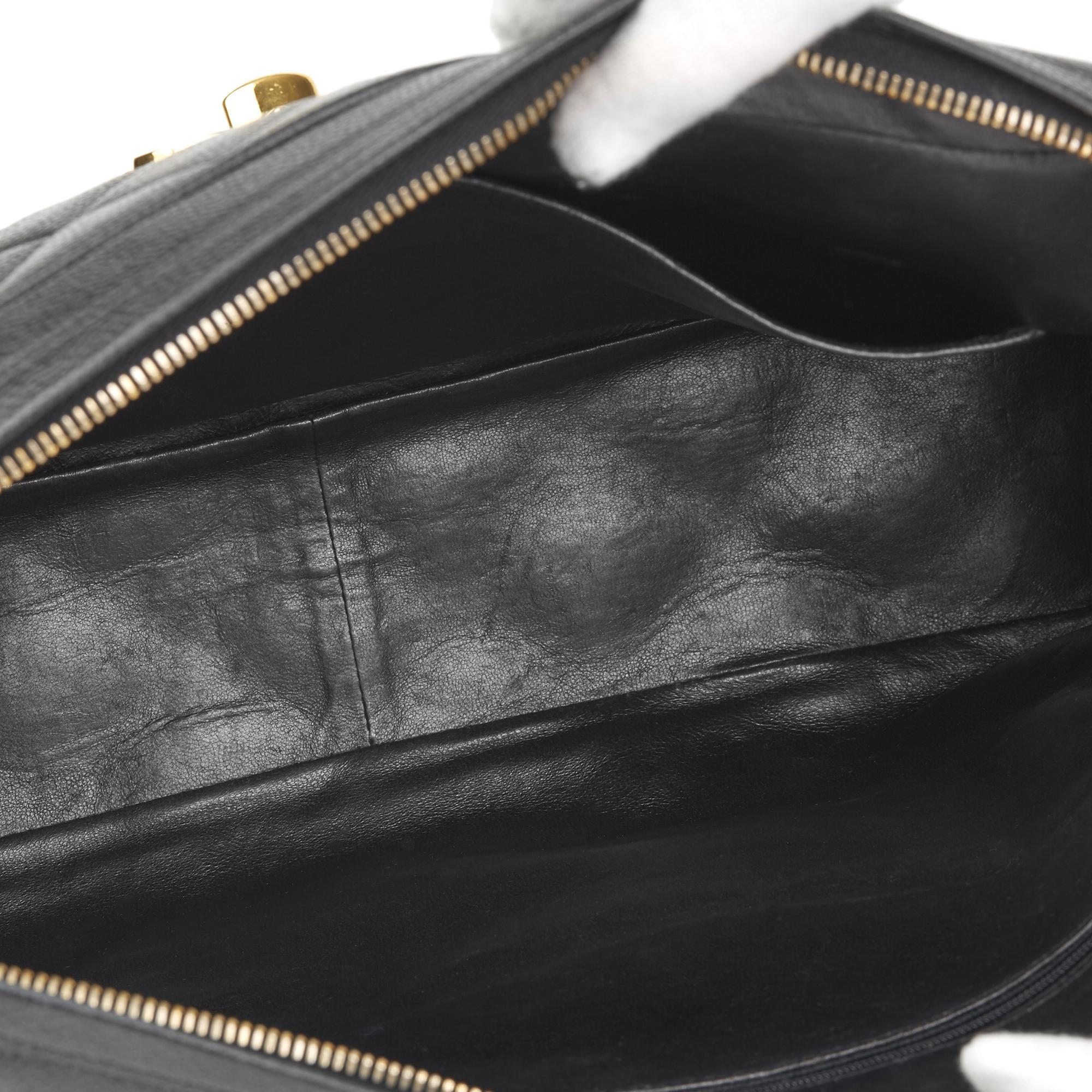 0c0f017da26d94 Chanel. Women's Black Quilted Caviar Leather Vintage Maxi Jumbo Xl Camera  Bag