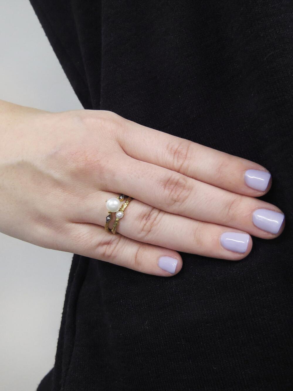 Lyst - Cathy waterman Pearl And Diamond Ring in Metallic