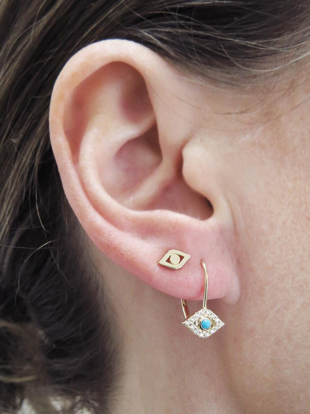 c8c12c754 Lyst - Sydney Evan Pure Evil Eye Single Stud Earring