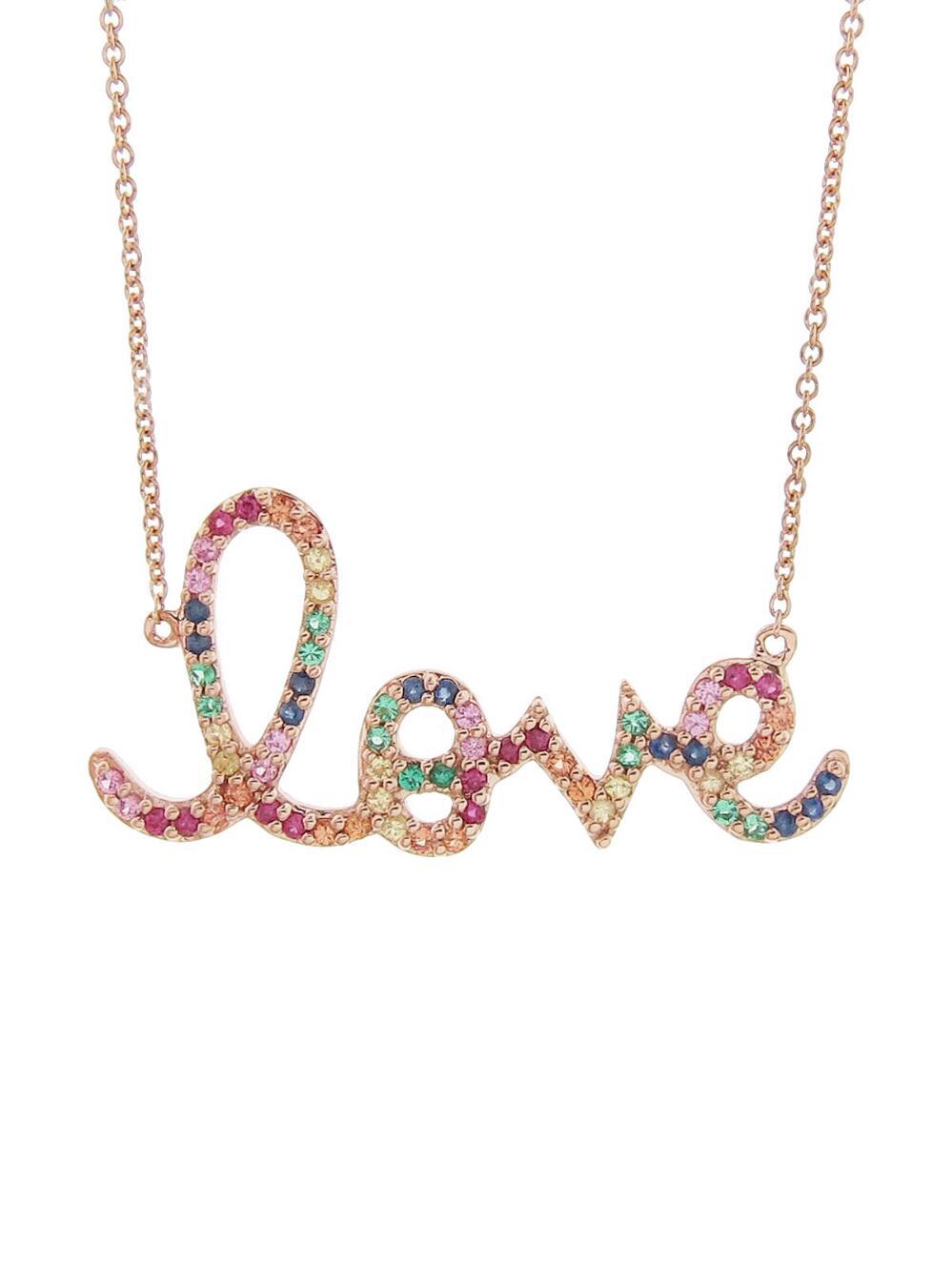 Sydney Evan Large Rainbow Sapphire Love Necklace HVnalCGi2h