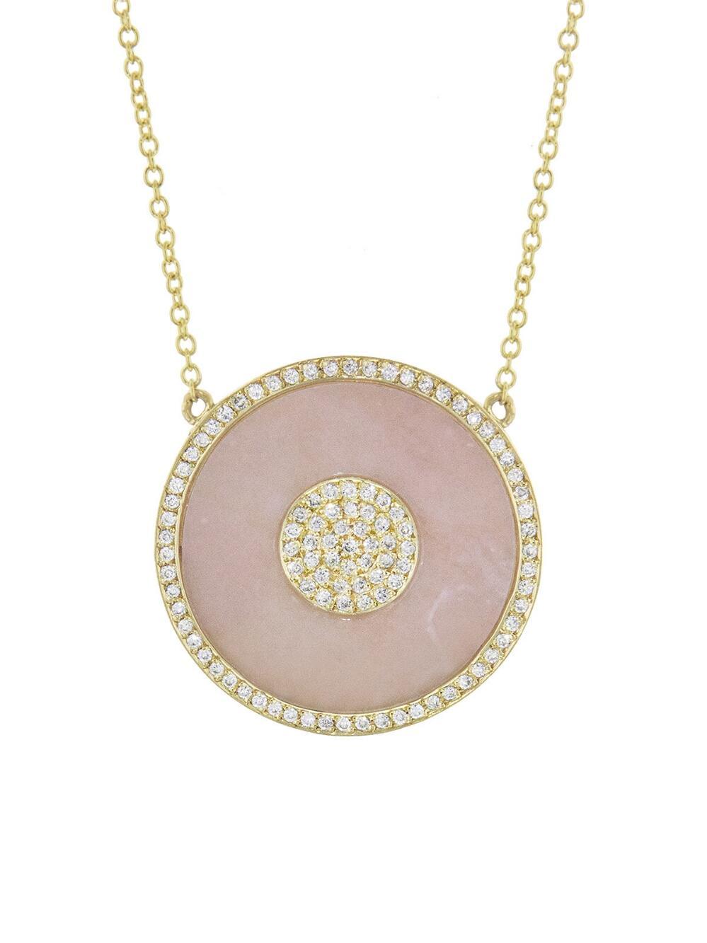 185b75d037626 Jennifer Meyer Multicolor Pink Opal Inlay Diamond Evil Eye Necklace
