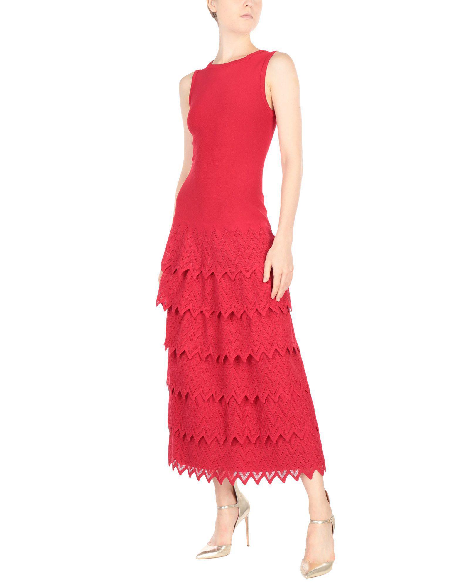 Robe longue Synthétique Alaïa en coloris Rouge