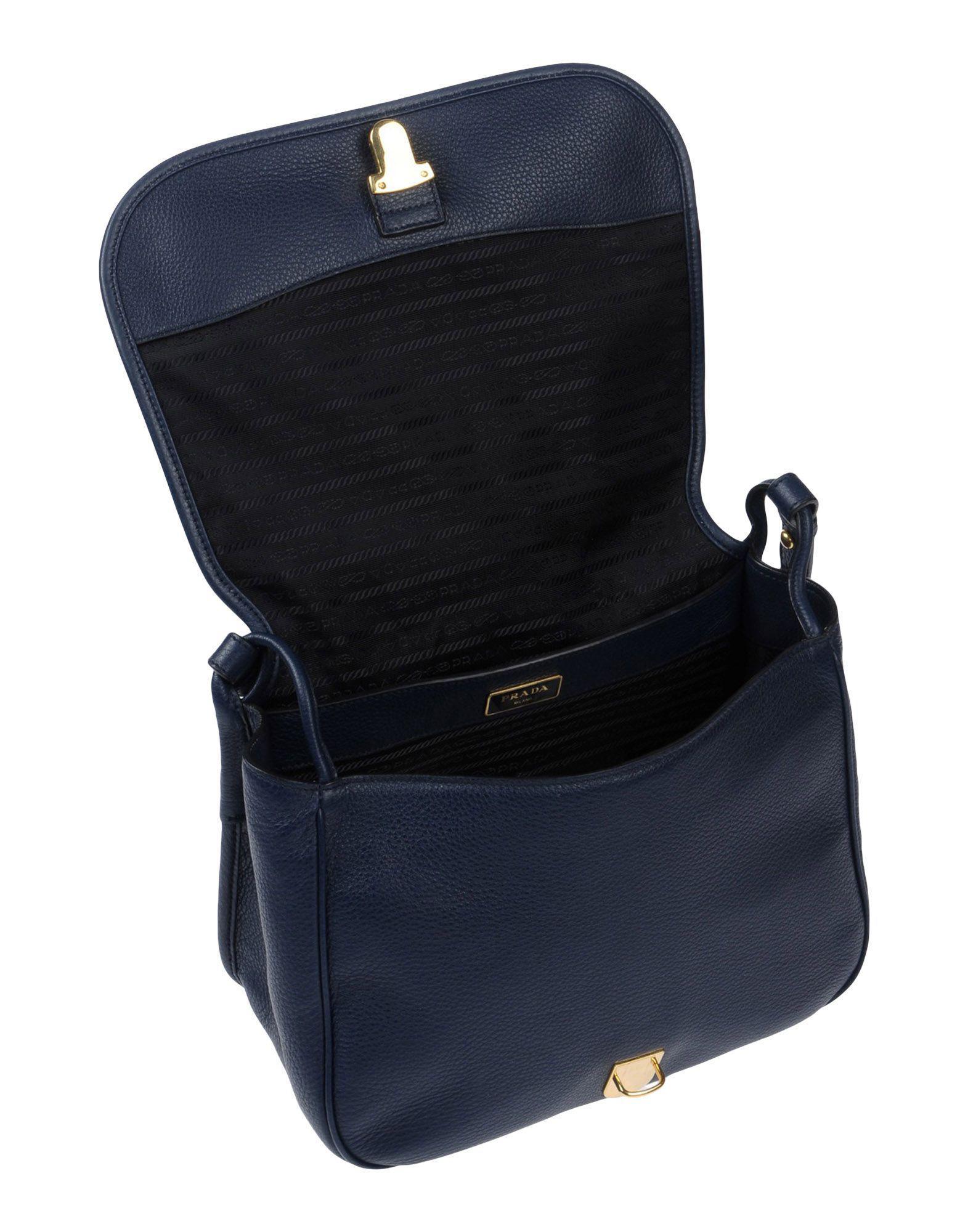Prada Leather Cross-body Bag in Dark Blue (Blue)