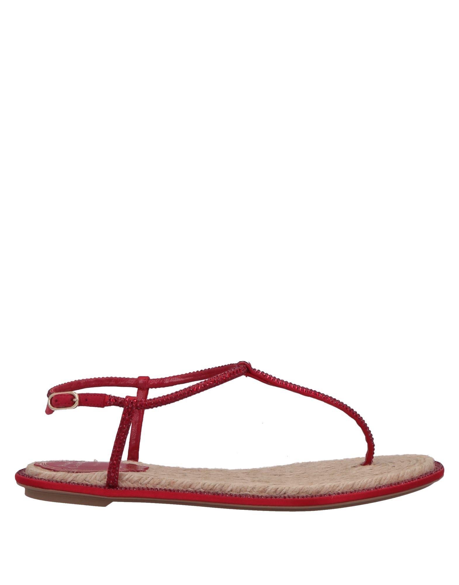1283a63c00e Lyst - Rene Caovilla Toe Post Sandal in Red