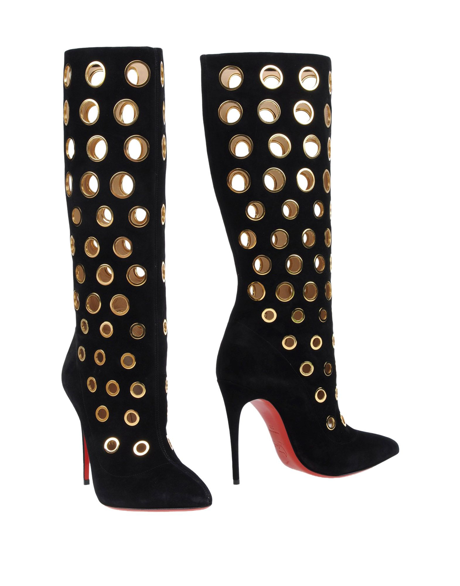 size 40 9083d 6a2fd Christian Louboutin Black Apollo 100 Eyelet-Embellished Suede Knee Boots
