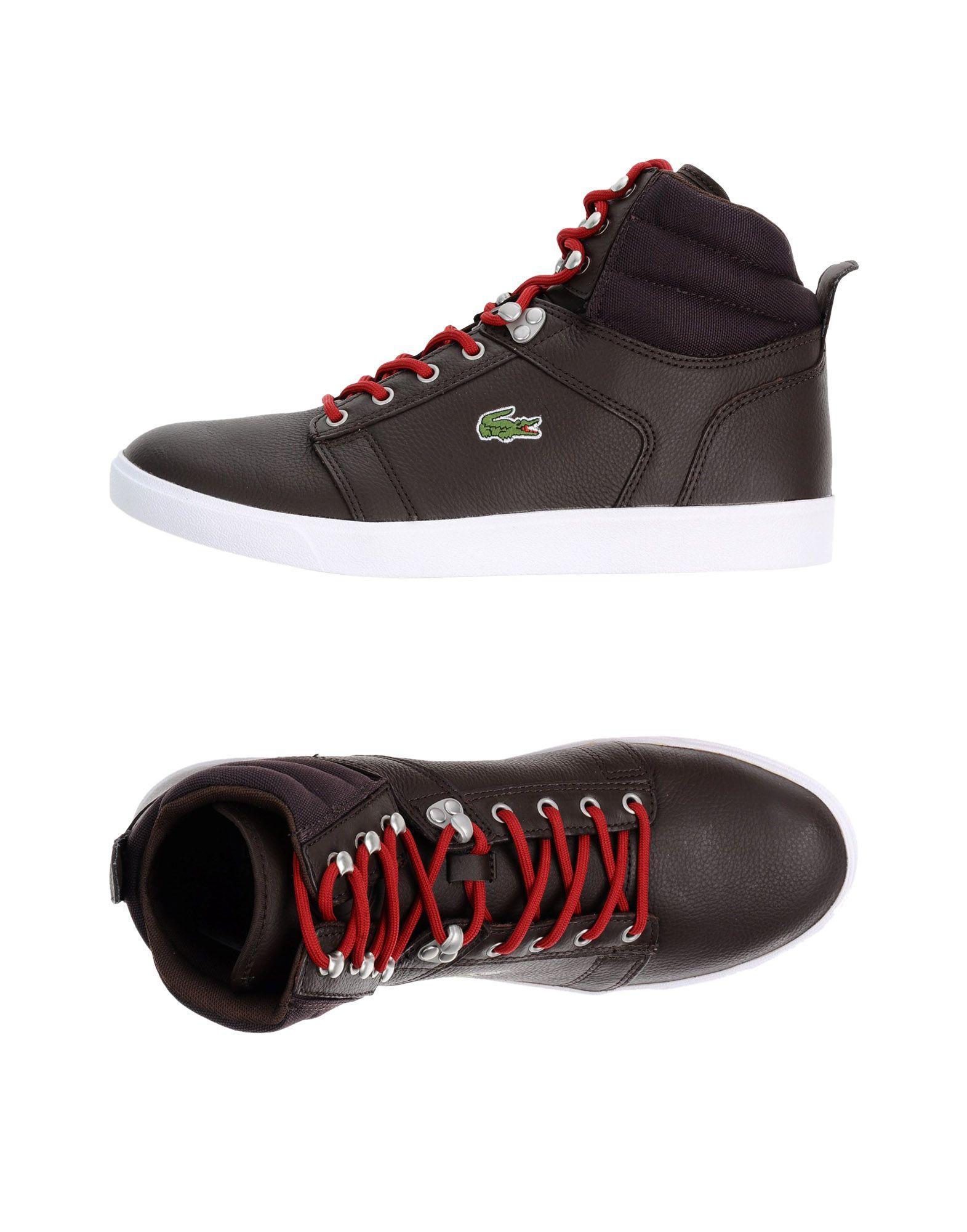 lyst lacoste sport hightops amp sneakers in brown for men