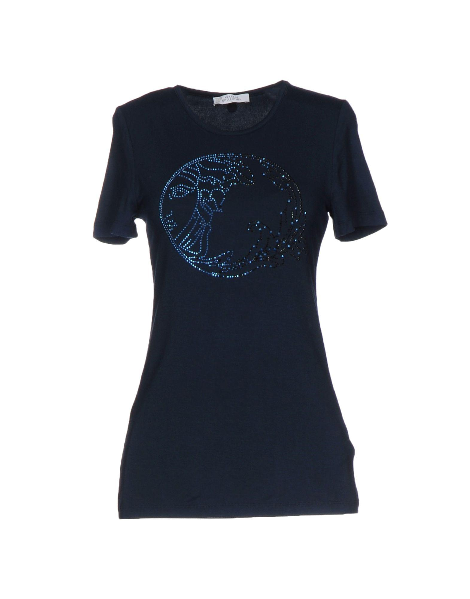 Lyst versace t shirt in blue for Versace t shirts women