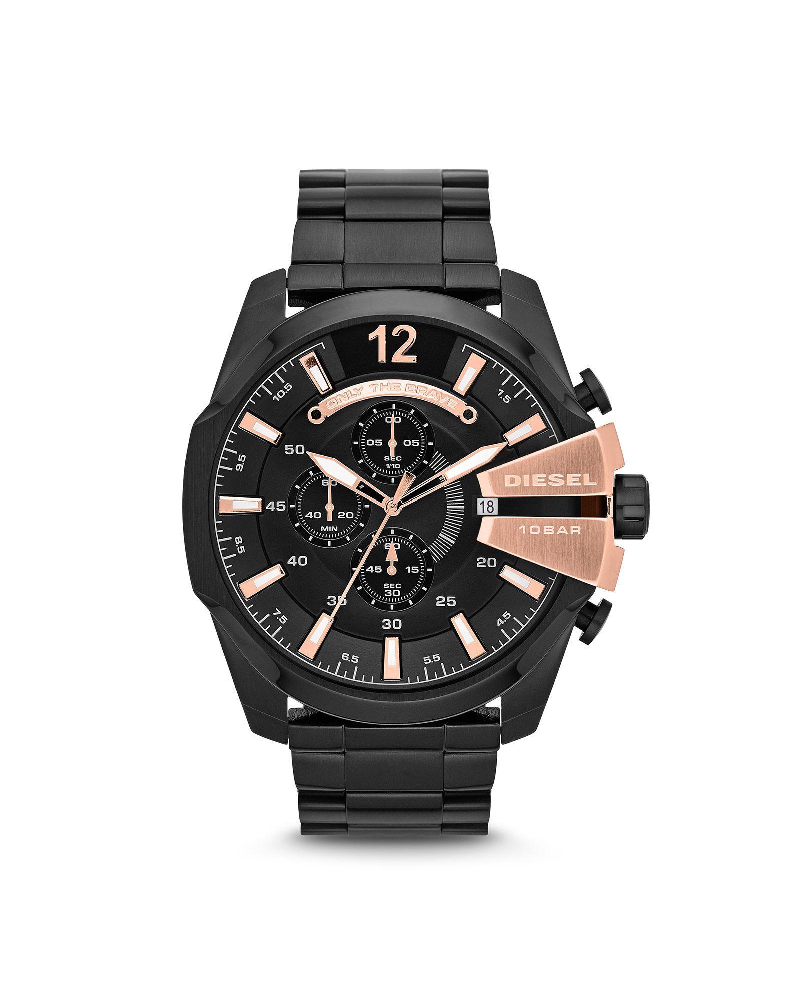 DIESEL Leather Wrist Watch in Black for Men - Lyst