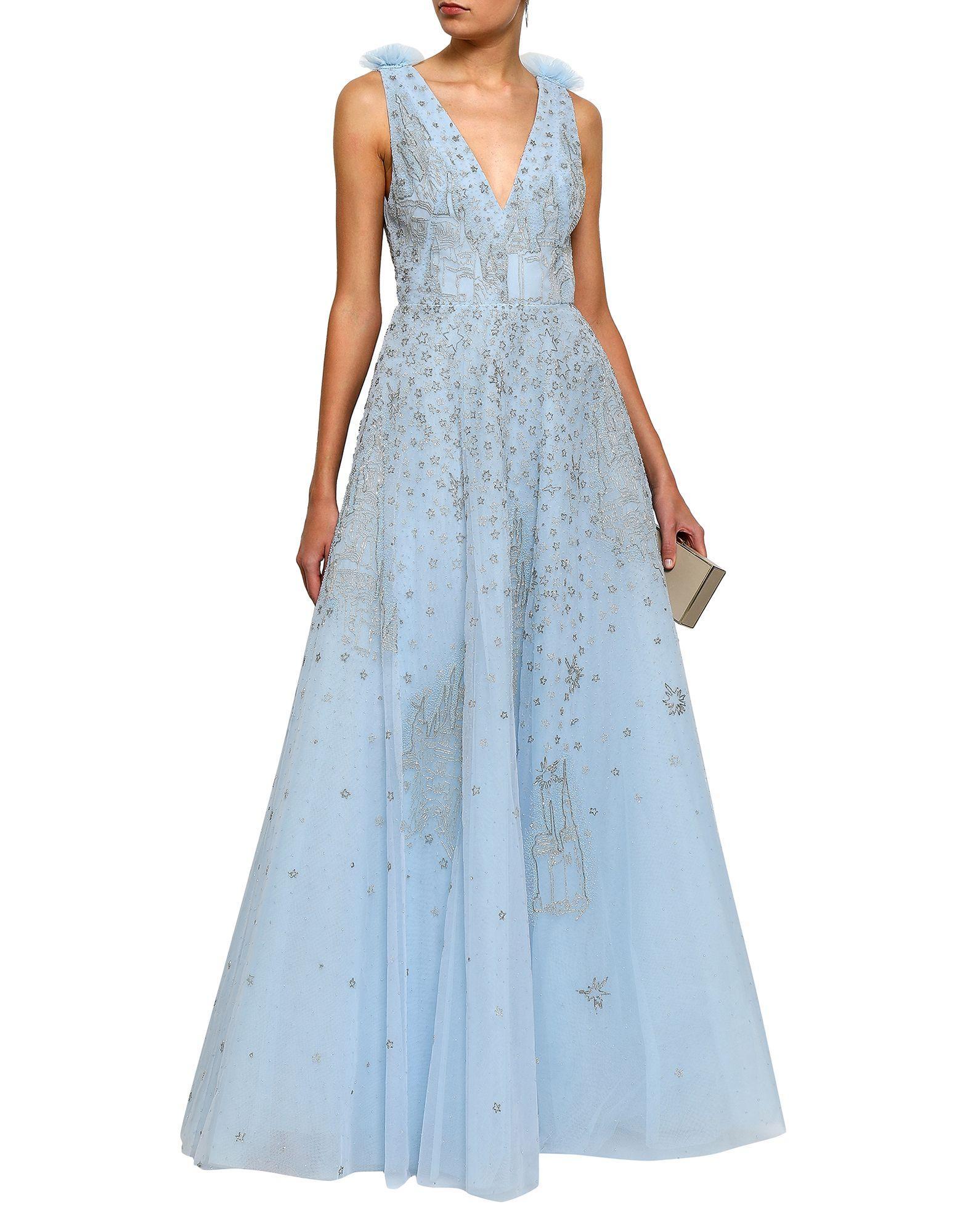Zuhair Murad Tüll Langes Kleid in Blau