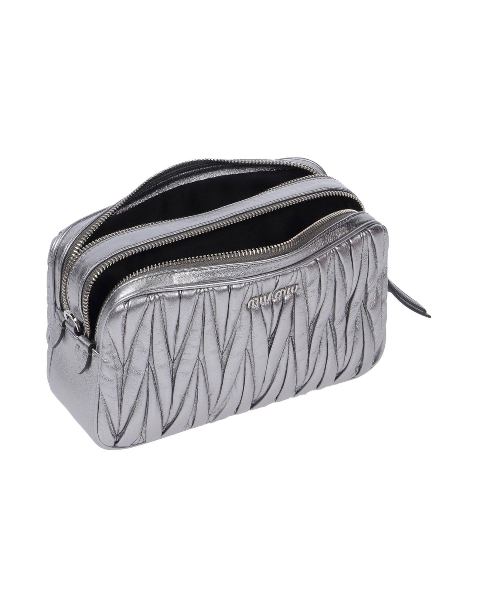 Miu Miu Leather Cross-body Bag in Silver (Metallic)
