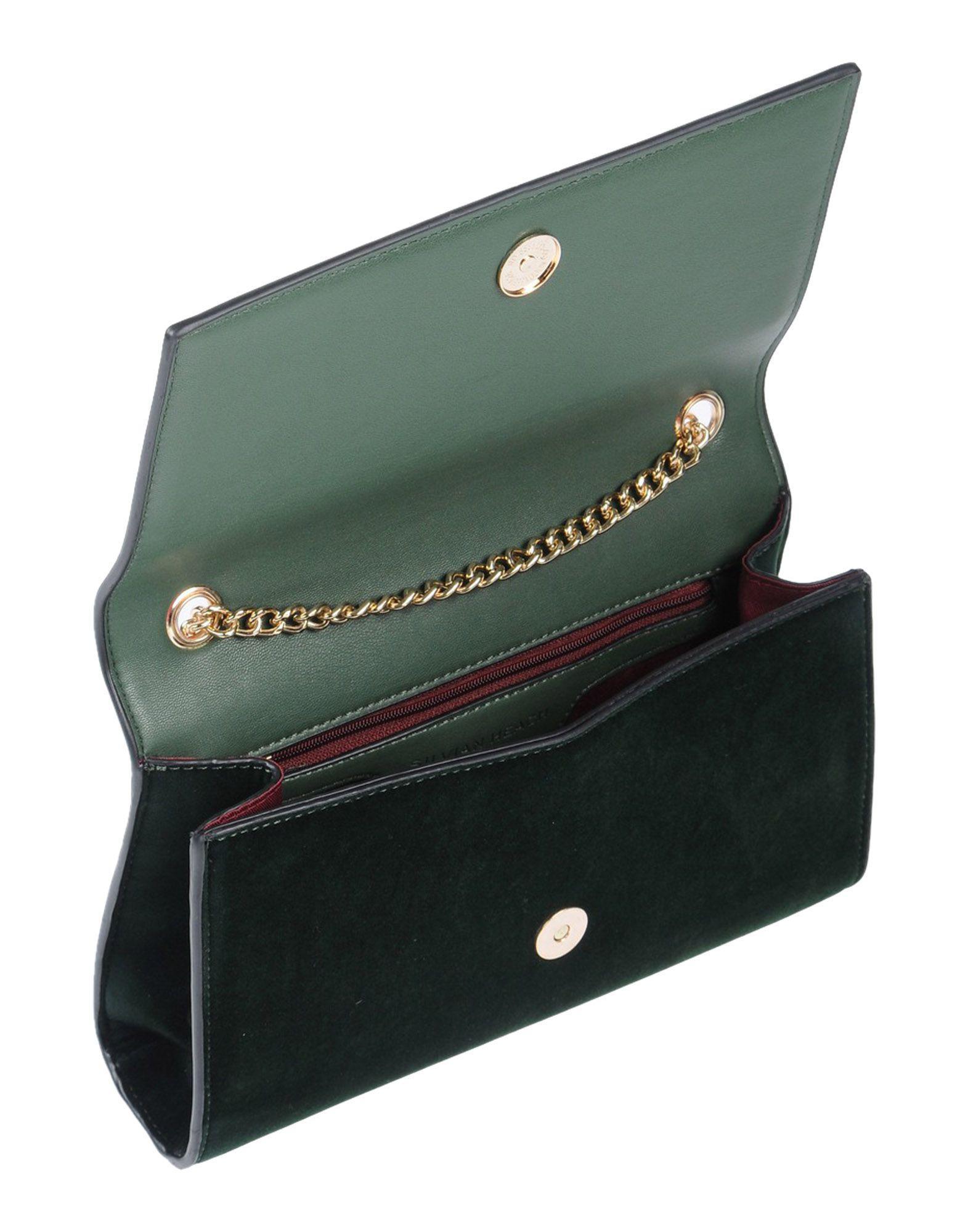 Silvian Heach Velvet Cross-body Bag in Dark Green (Green)