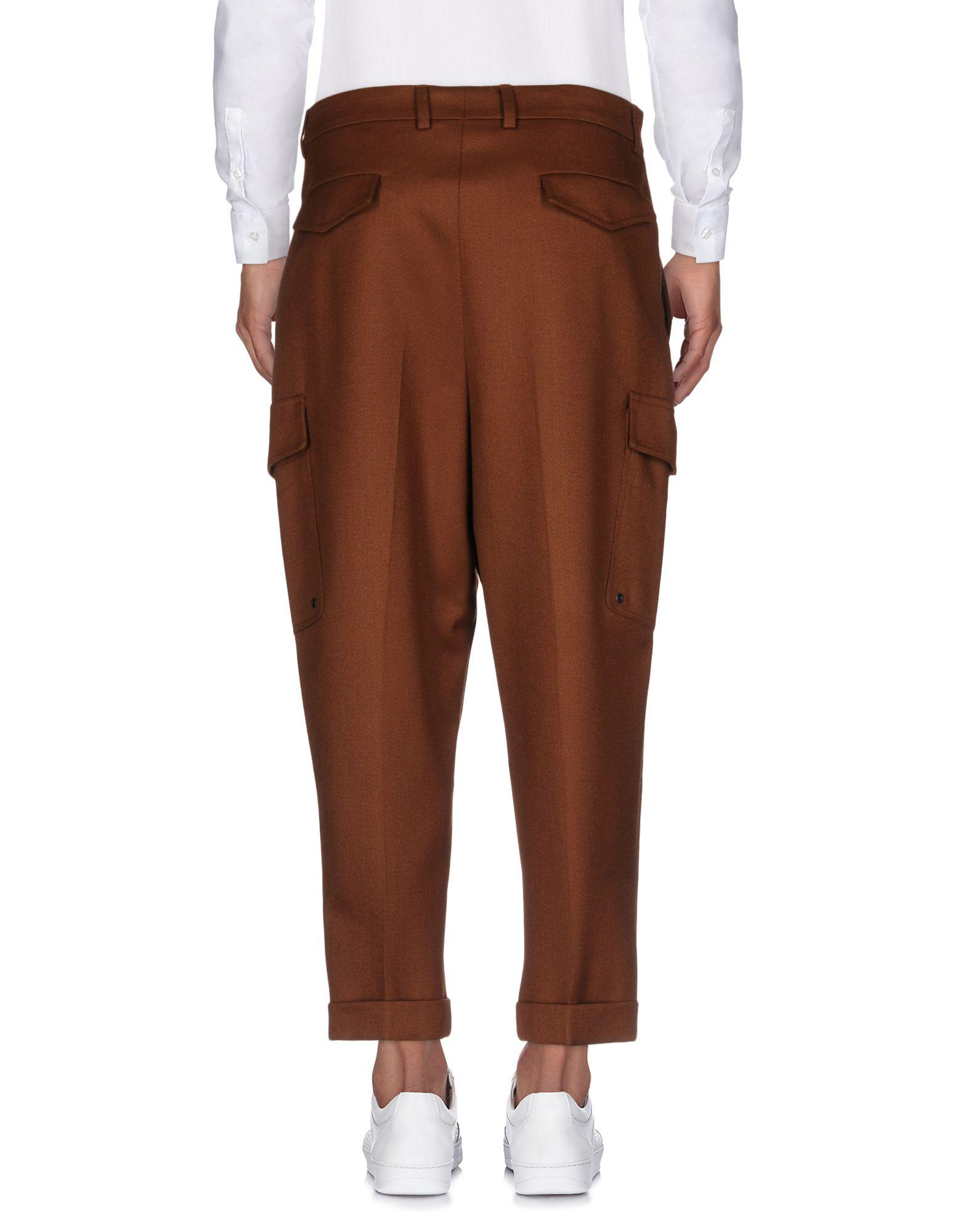AMI Flannel Casual Trouser in Brown for Men