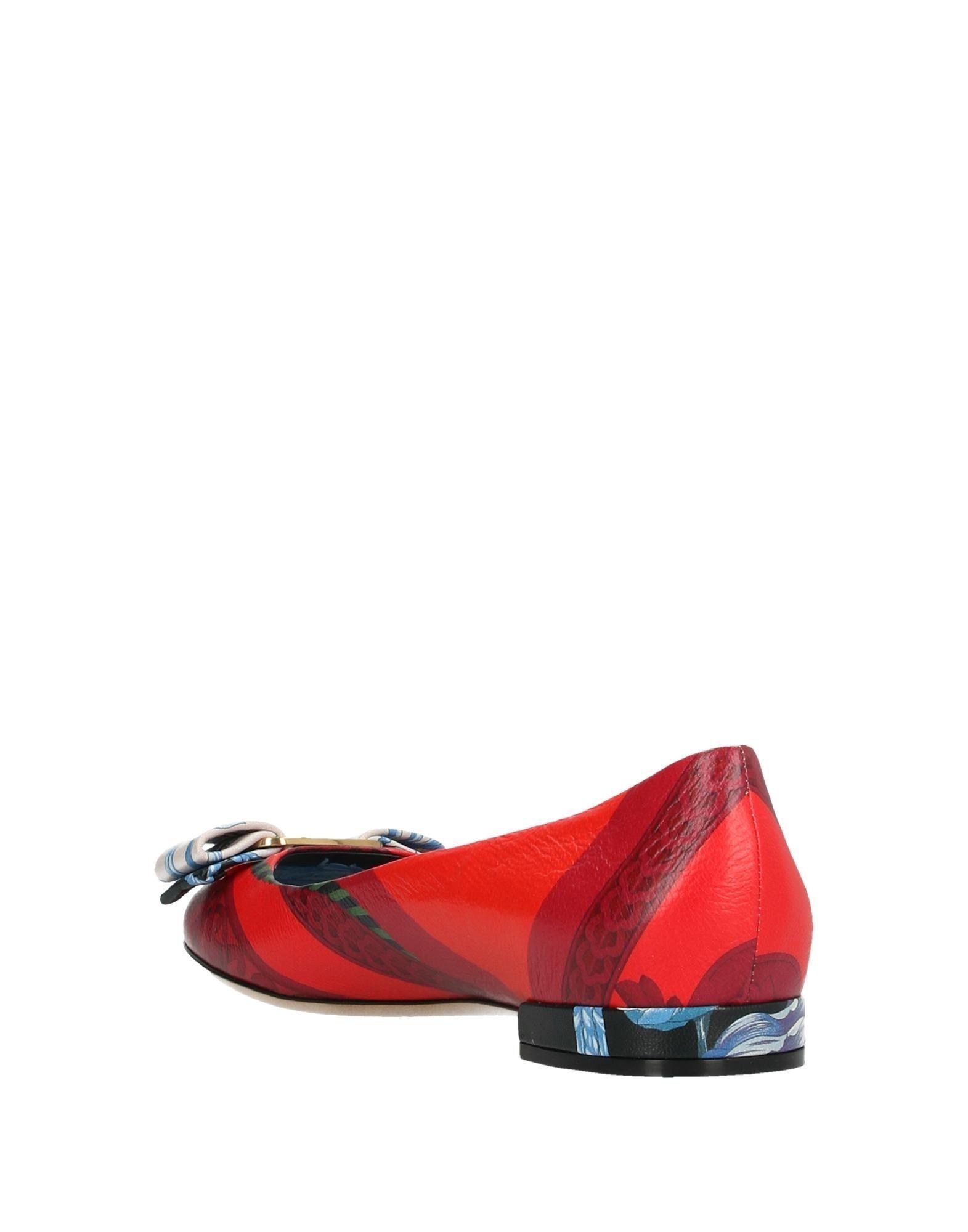 Bailarinas Ferragamo de Cuero de color Rojo