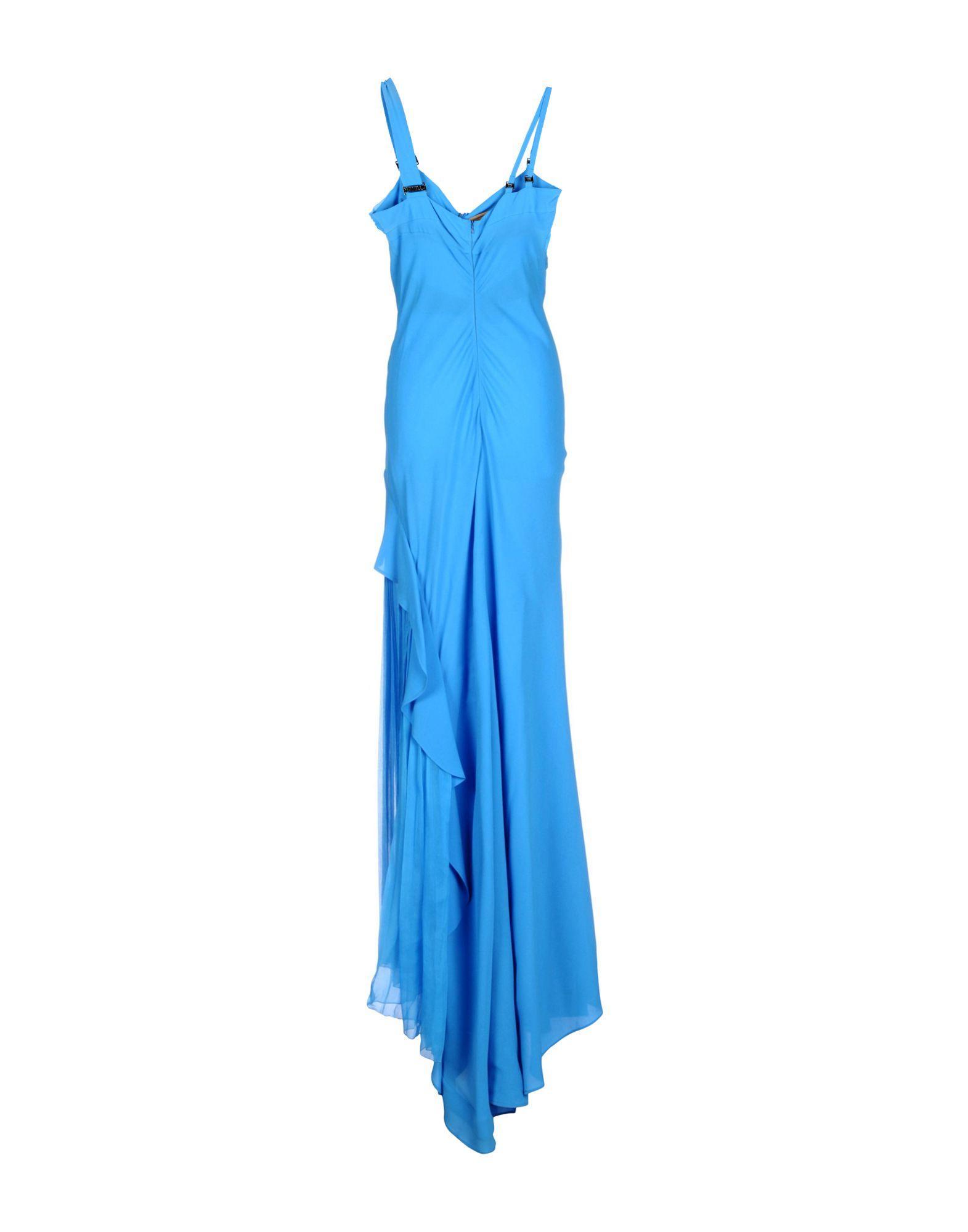 Angelo Mozzillo Silk Long Dress in Azure (Blue)