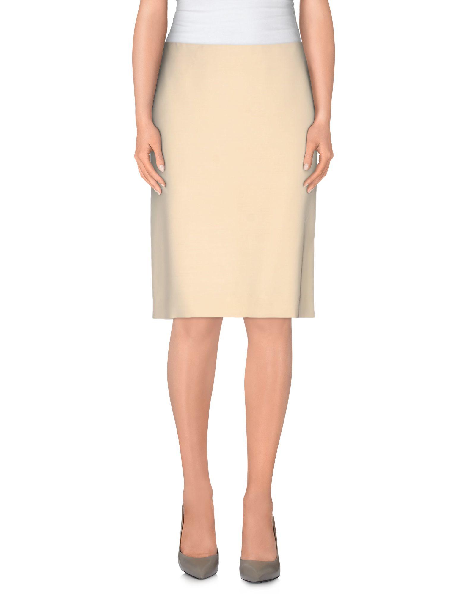 alberta ferretti knee length skirt in beige lyst