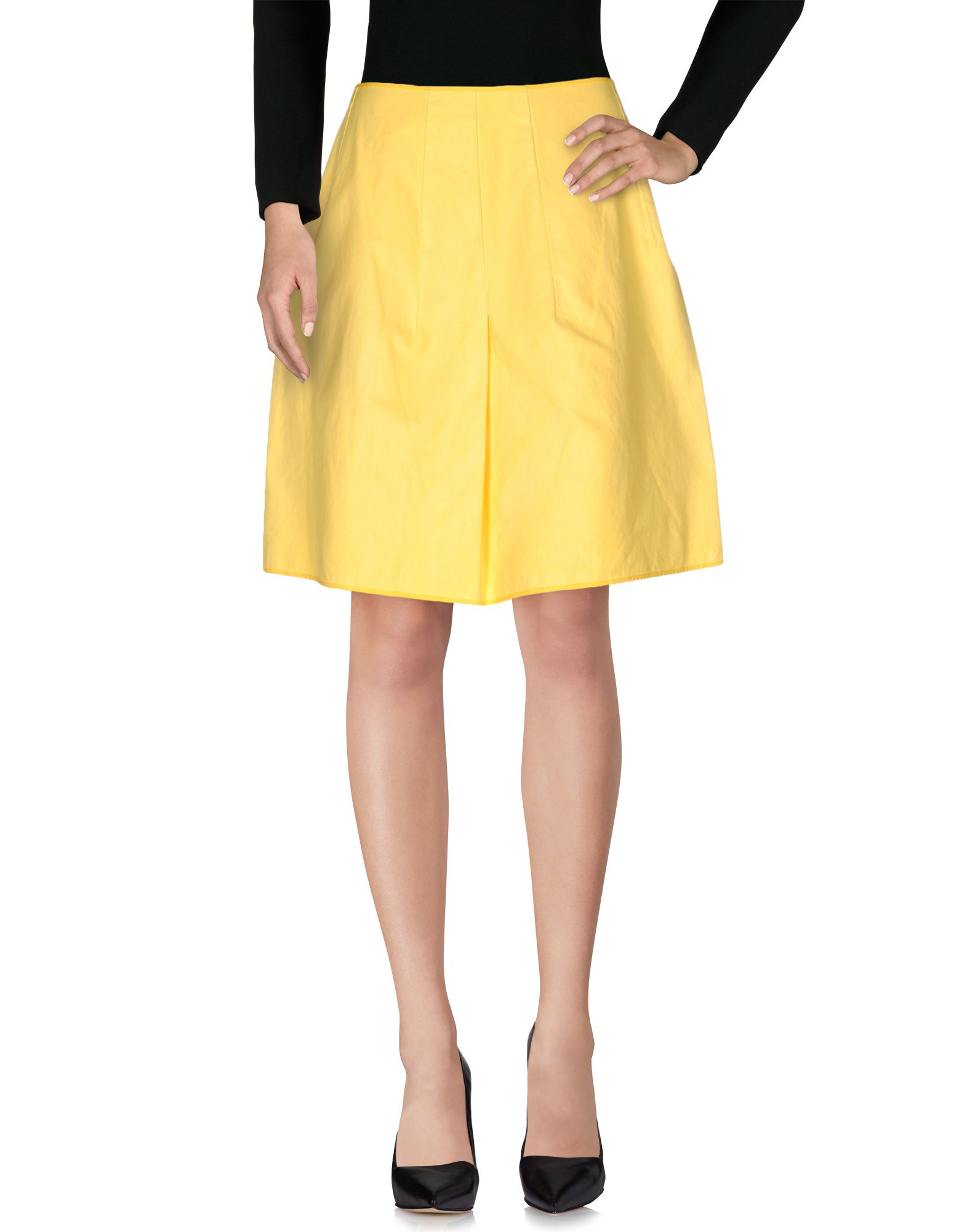 hache knee length skirt in yellow lyst