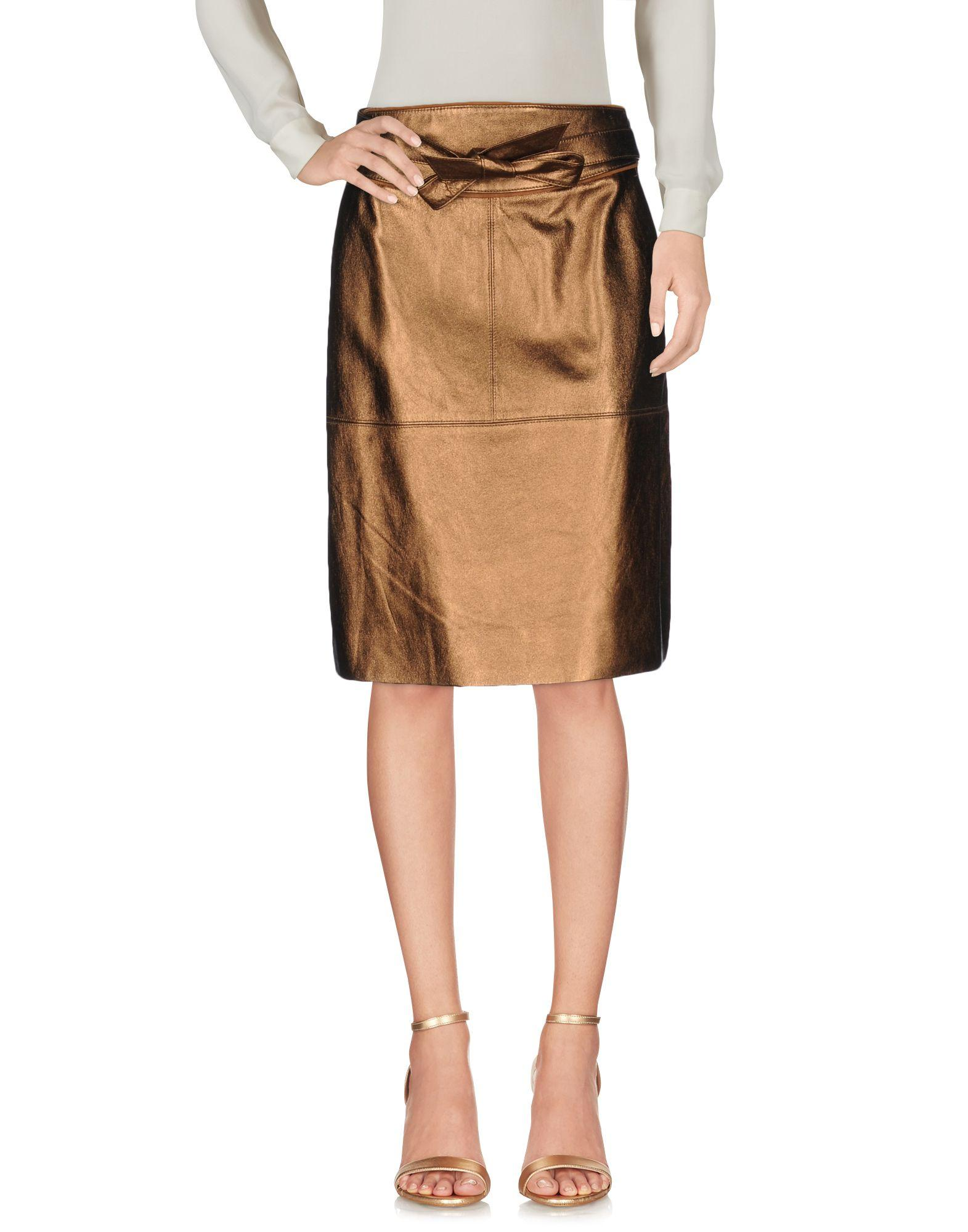 marc by marc knee length skirt in brown lyst