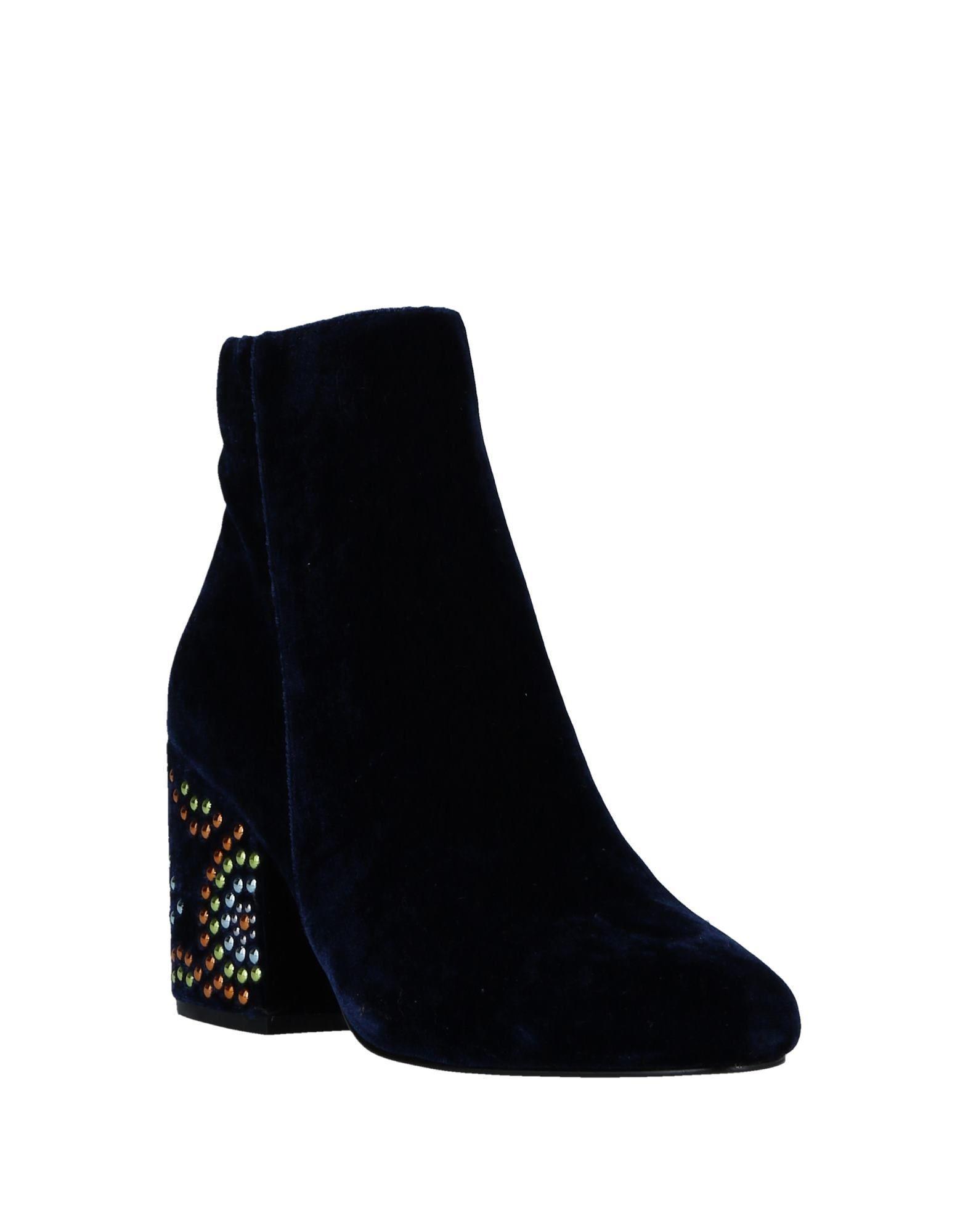 CafeNoir Velvet Ankle Boots in Dark Blue (Blue)