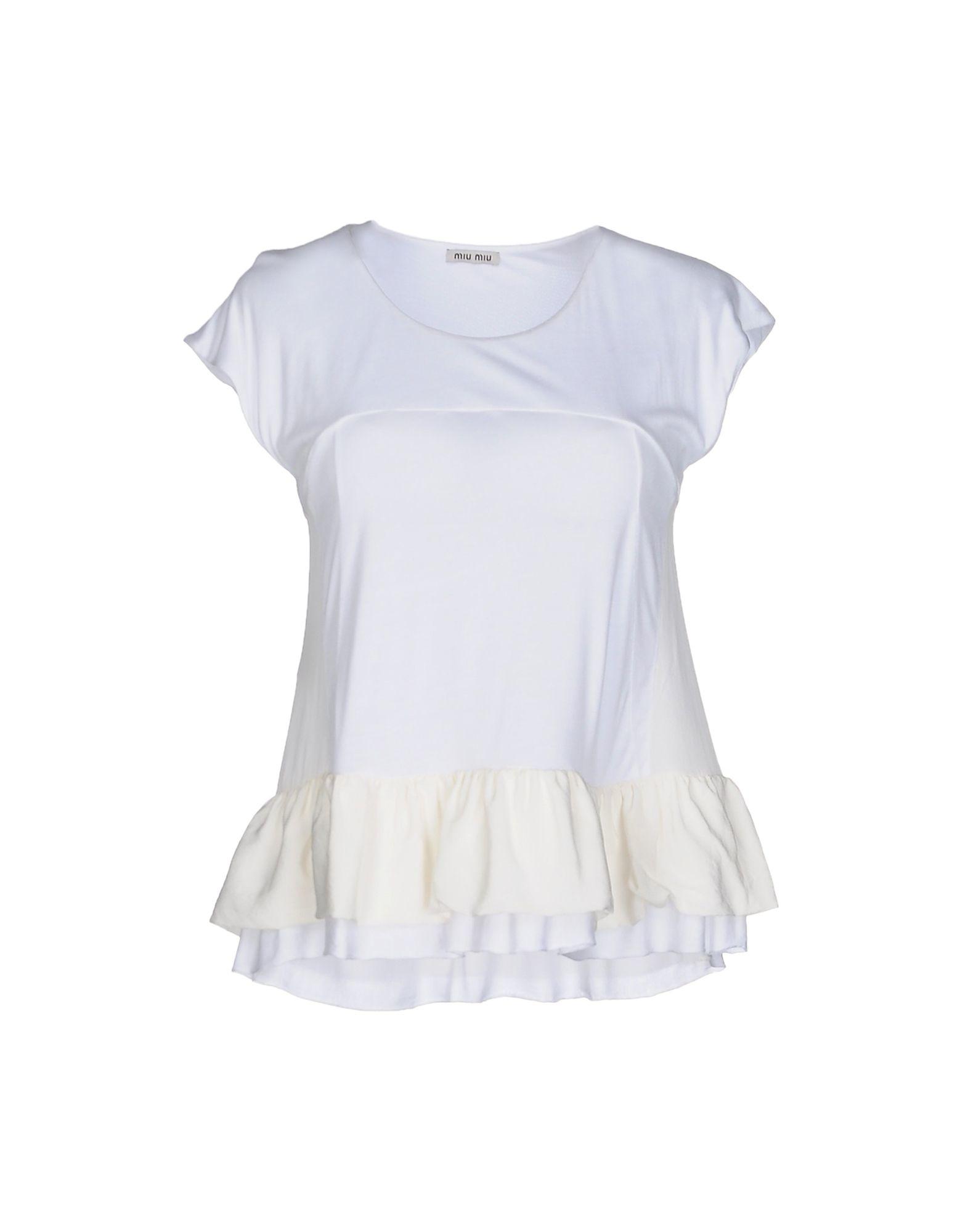 Miu miu t shirt in white save 16 lyst for Miu miu t shirt