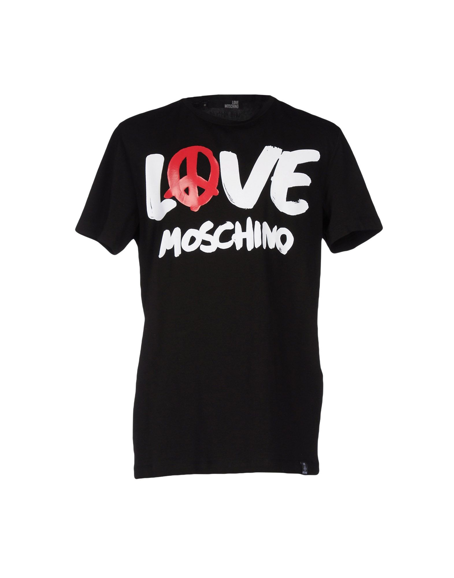 lyst love moschino logo print t shirt in black. Black Bedroom Furniture Sets. Home Design Ideas