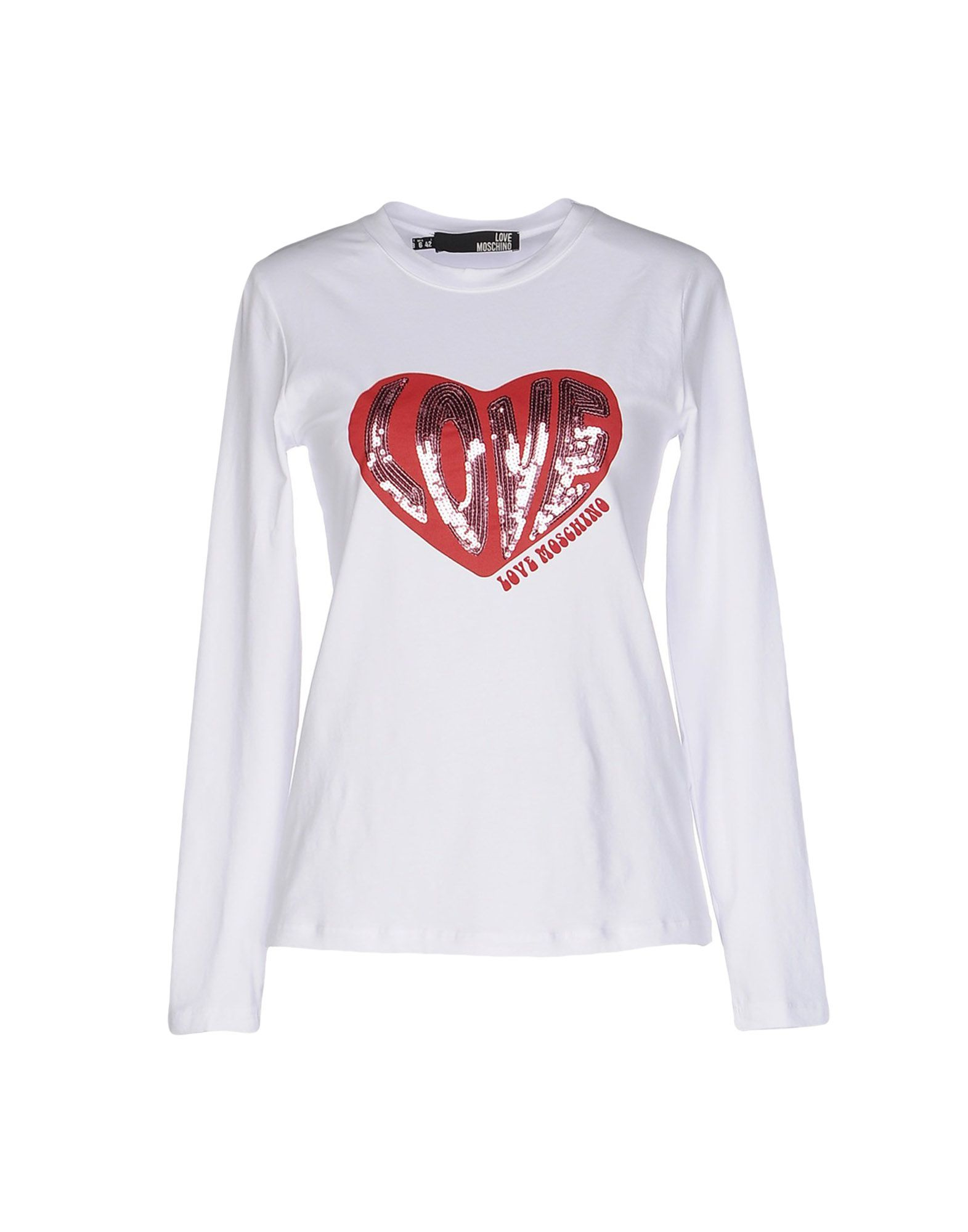 love moschino t shirt in white save 11 lyst. Black Bedroom Furniture Sets. Home Design Ideas