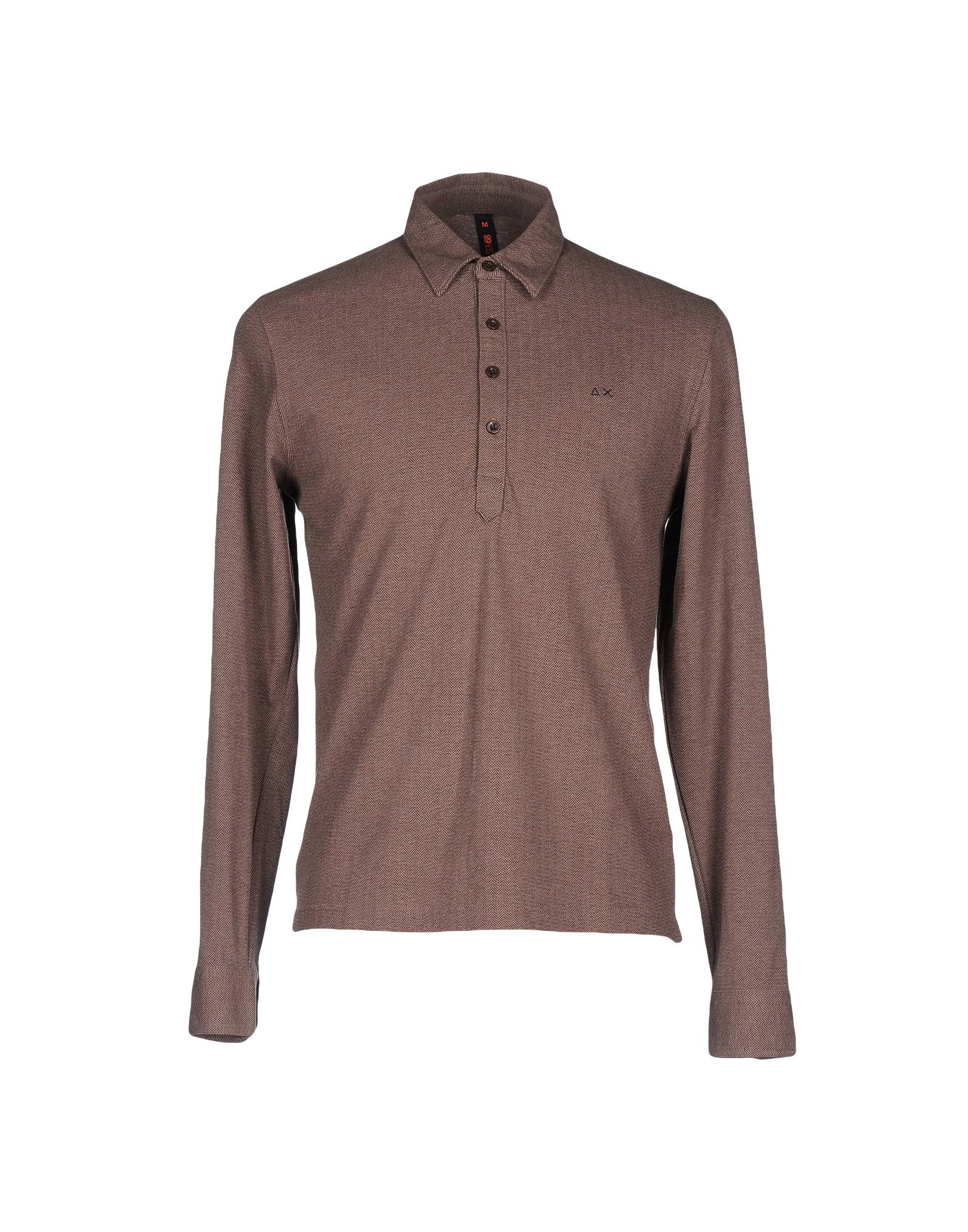Sun 68 polo shirt in brown for men lyst for Light brown polo shirt