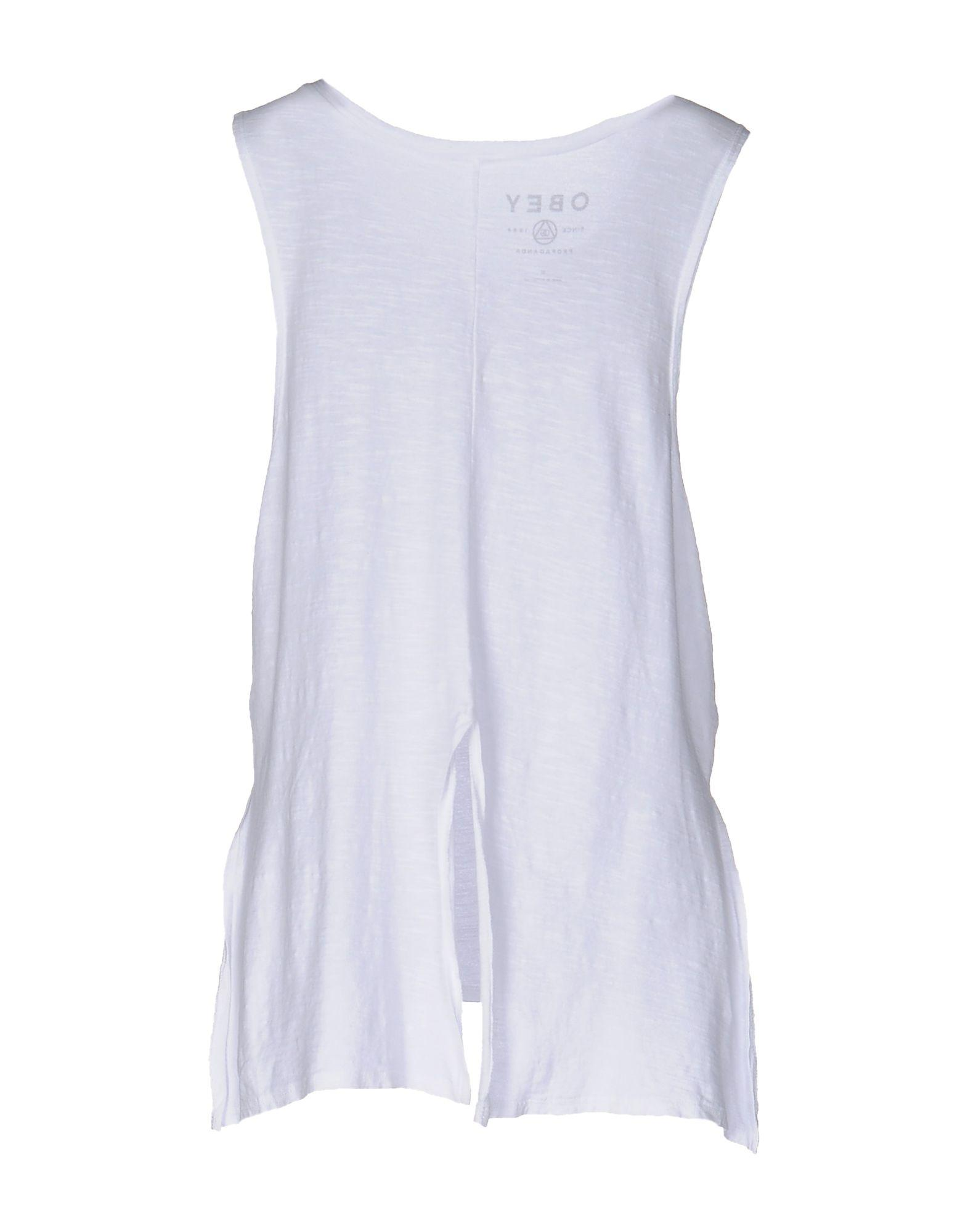 obey tank top in white lyst. Black Bedroom Furniture Sets. Home Design Ideas