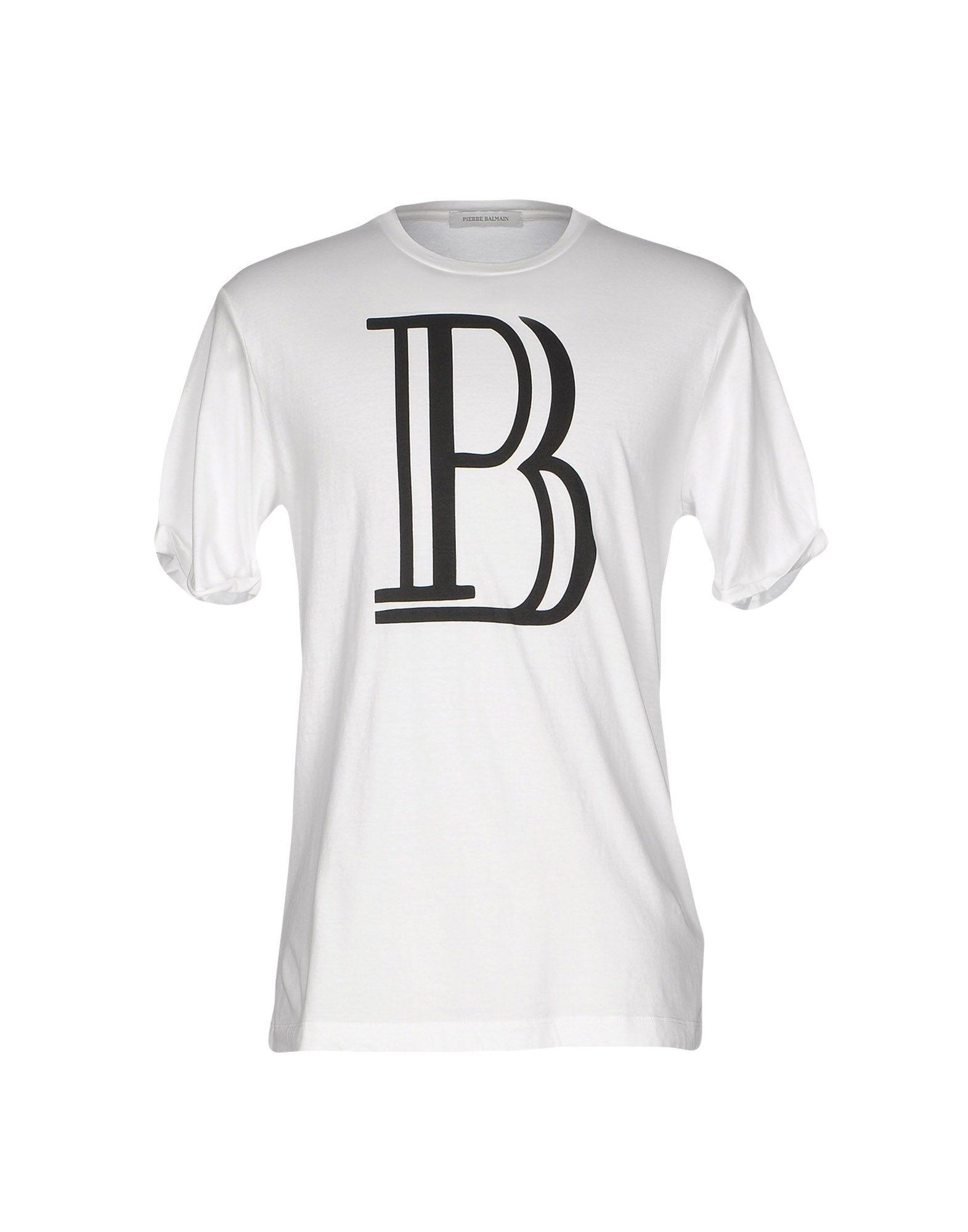 Lyst balmain t shirt in white for men for Balmain white logo t shirt