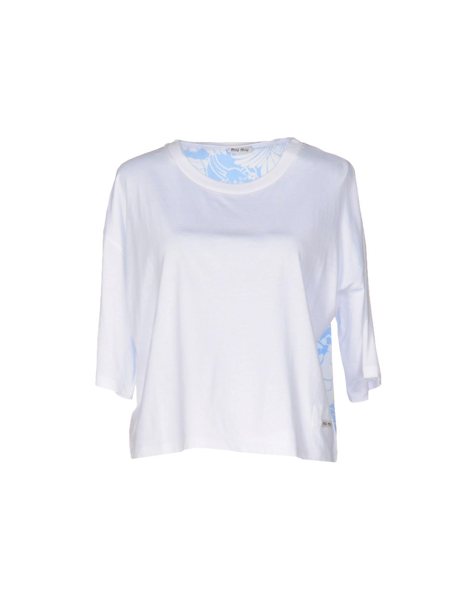Miu miu t shirt in white lyst for Miu miu t shirt
