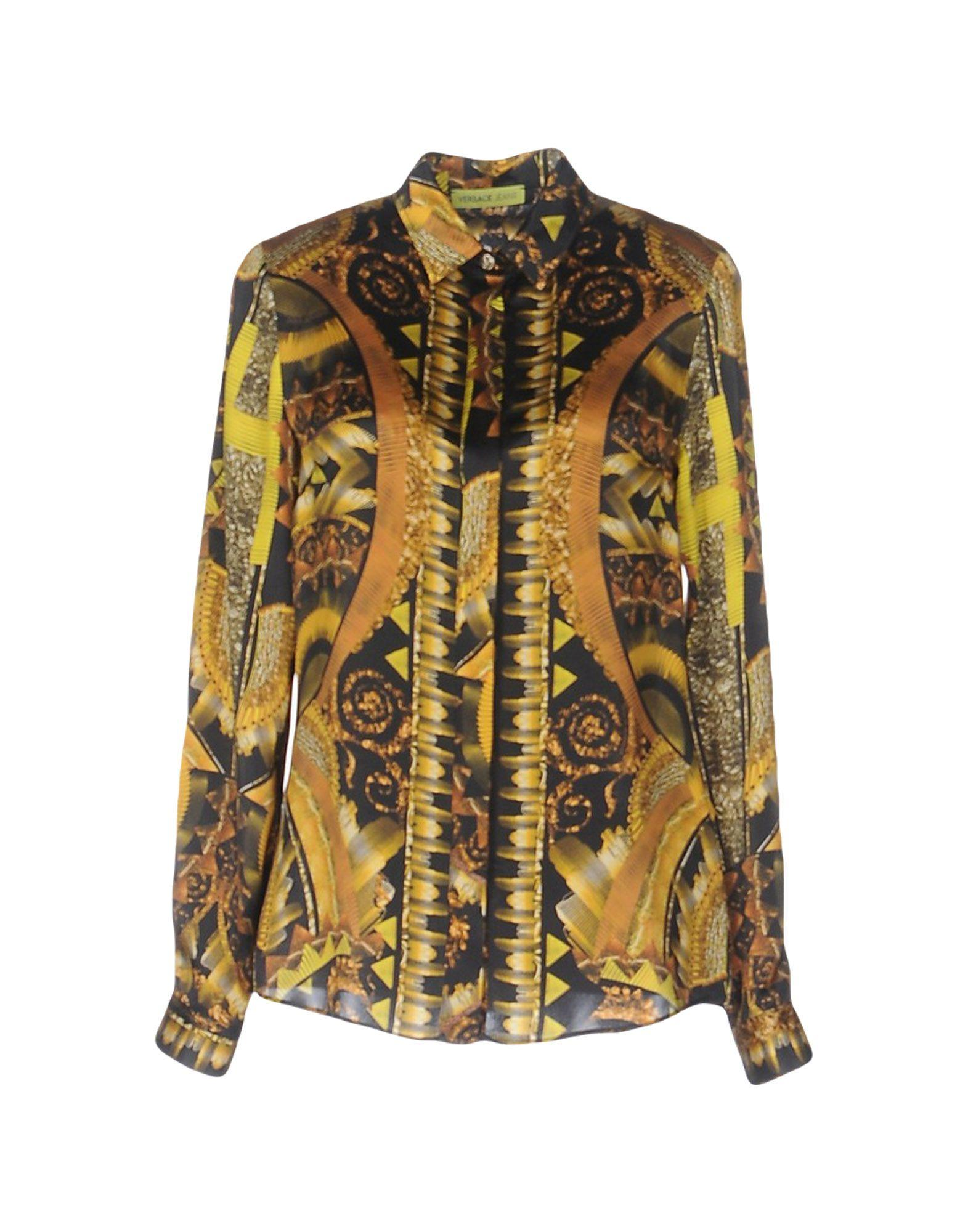 versace jeans shirt in yellow lyst. Black Bedroom Furniture Sets. Home Design Ideas
