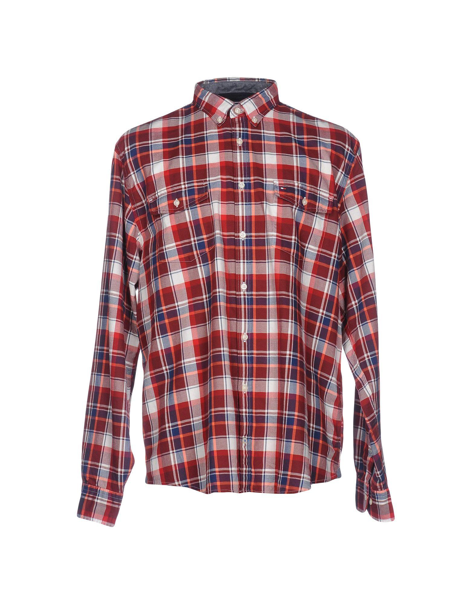 Lyst tommy hilfiger shirt in red for men for Bear river workwear shirts