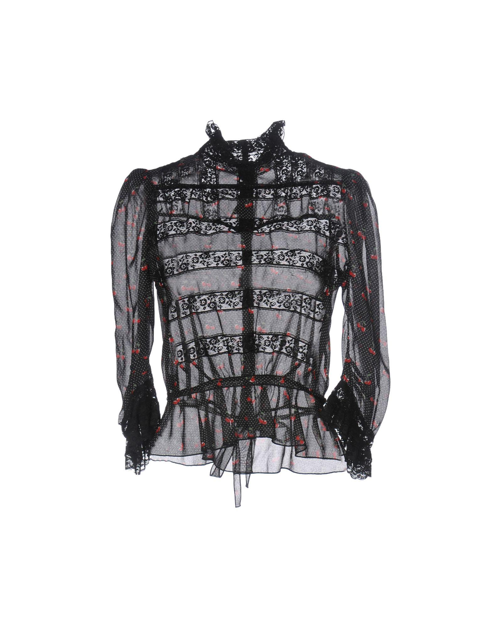 Marc By Marc Jacobs Cotton Cherry Print Blouse in Black