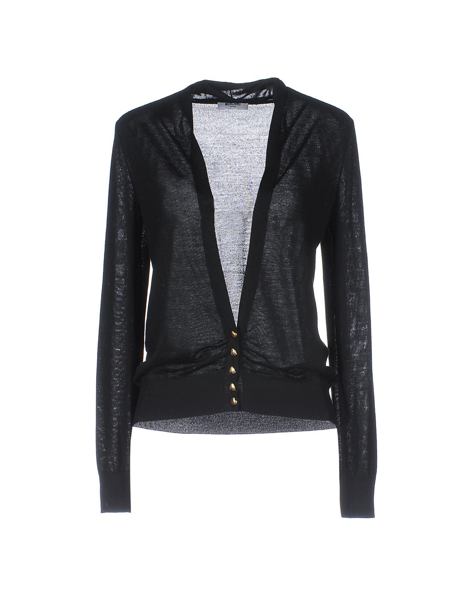 lyst moschino jeans cardigan in black. Black Bedroom Furniture Sets. Home Design Ideas